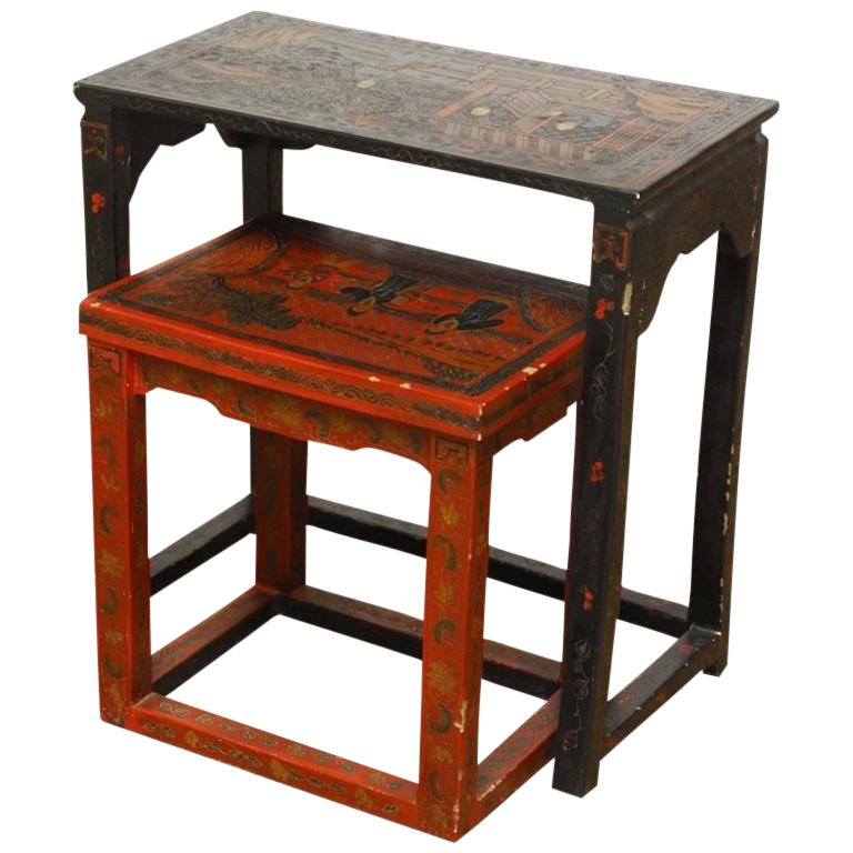 Chinese Coromandel Style Lacquered Nesting Tables   A Pair
