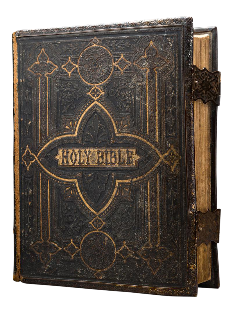 Sophisticated Ornate Leather Bound And Illustrated Browns Family Bible Containing The Old New Testaments