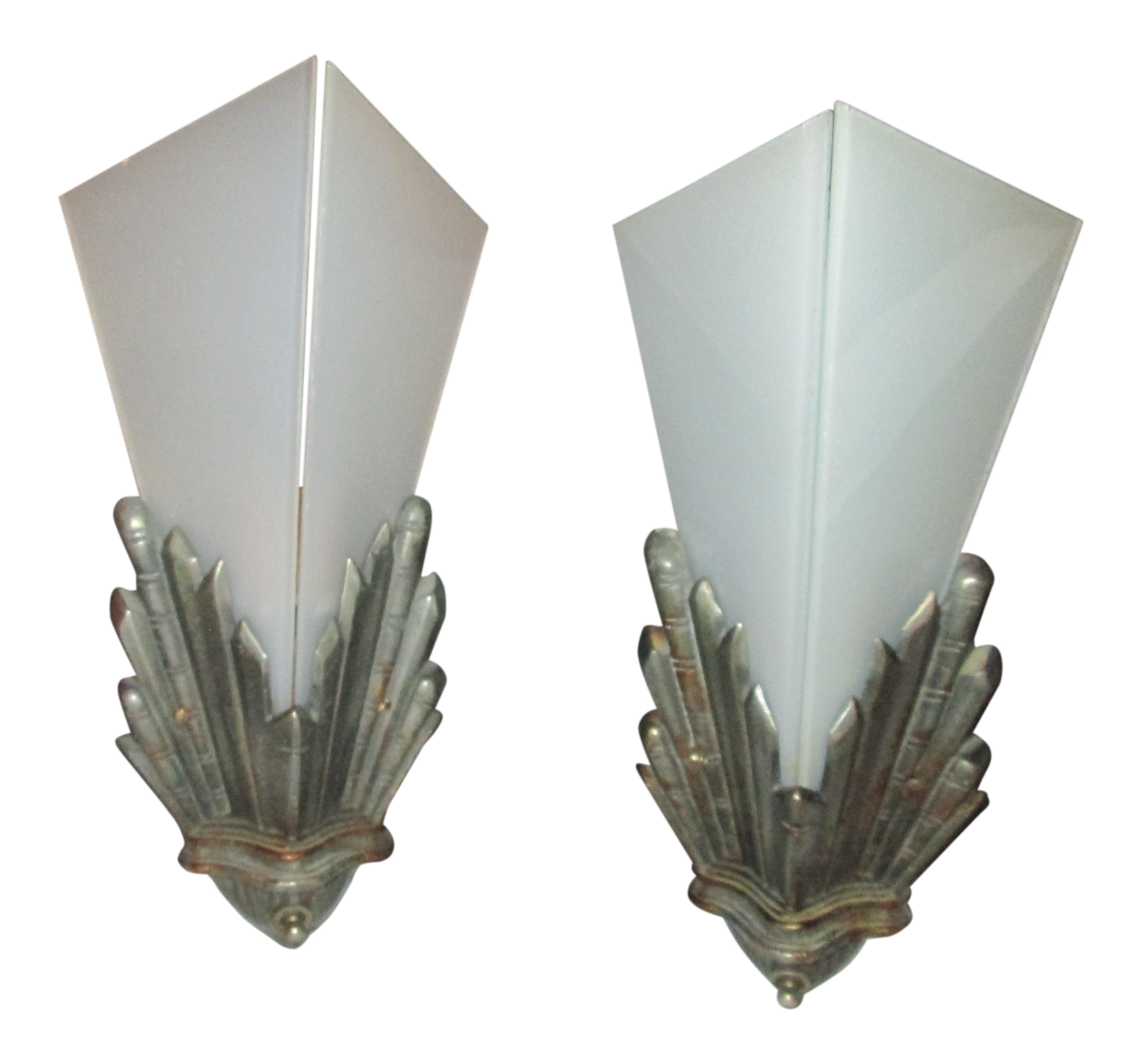 timeless design d1c41 7f57c Geometric Antique Cast Iron Art Deco Wall Sconces With Frosted Glass - A  Pair