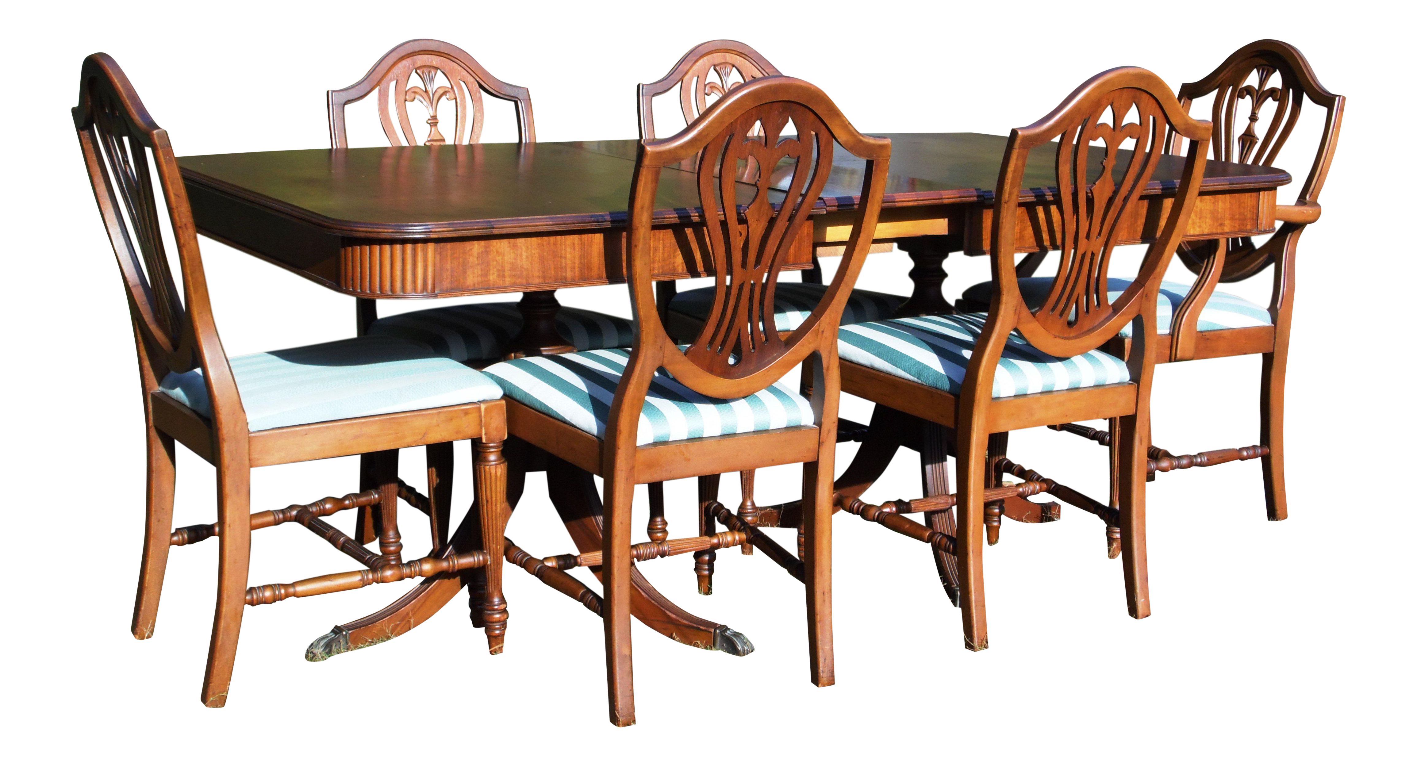 Thomasville Hepplewhite Duncan Phyfe Mahogany Dining Set Table U0026 6 Shield  Back Chairs | Chairish