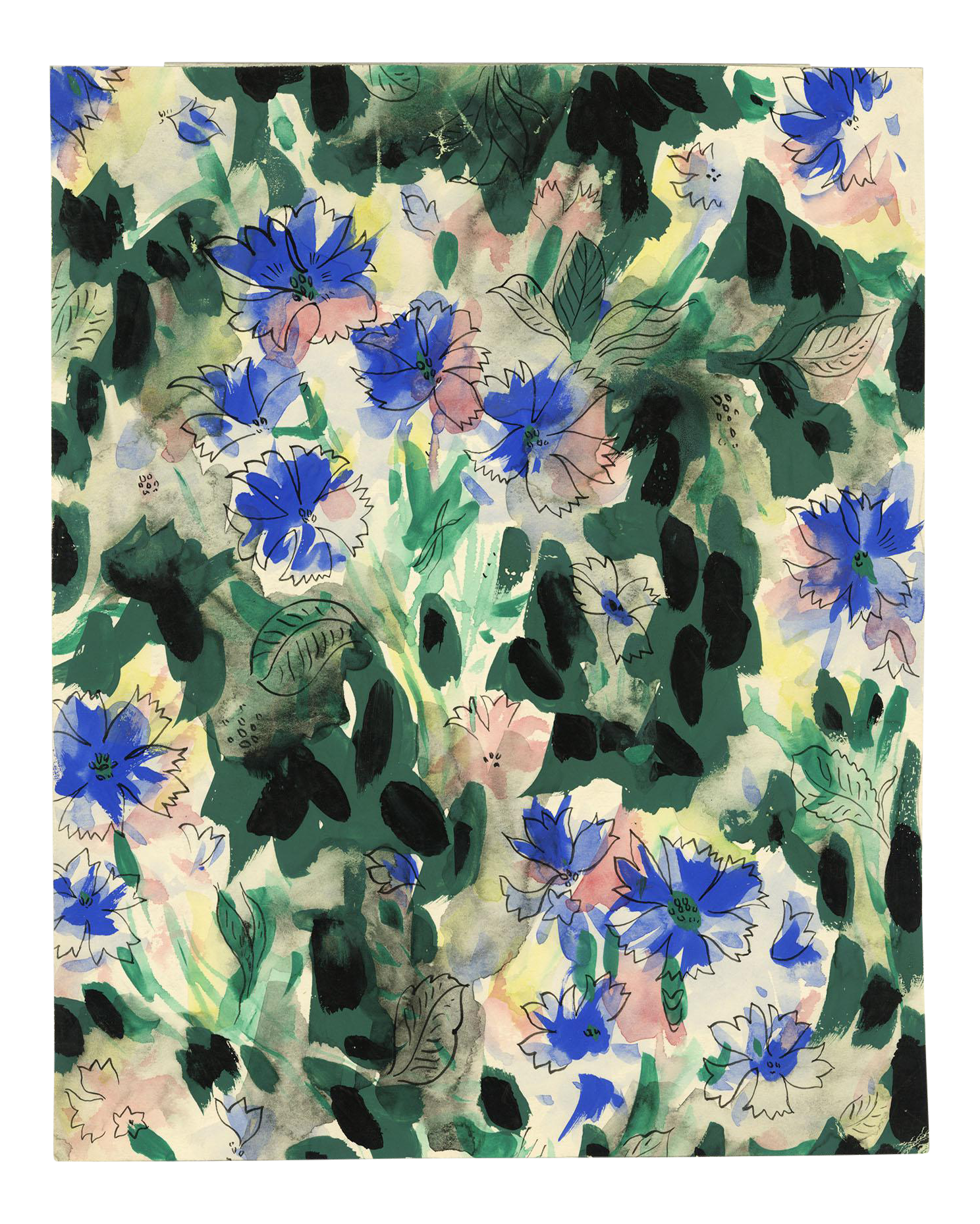 Vintage Repeat Floral Pattern For Textile Watercolor Painting