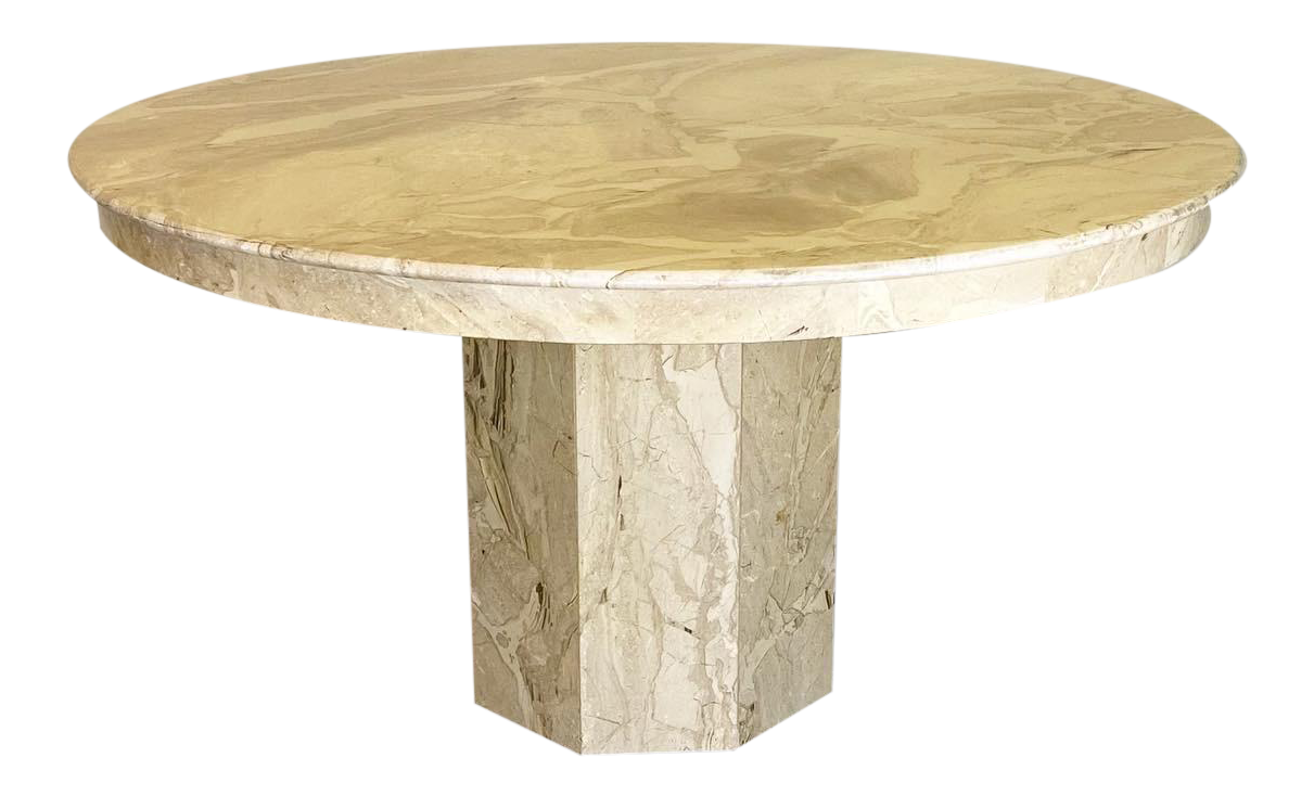 Vintage Modern Cream Marble Dining Table Chairish