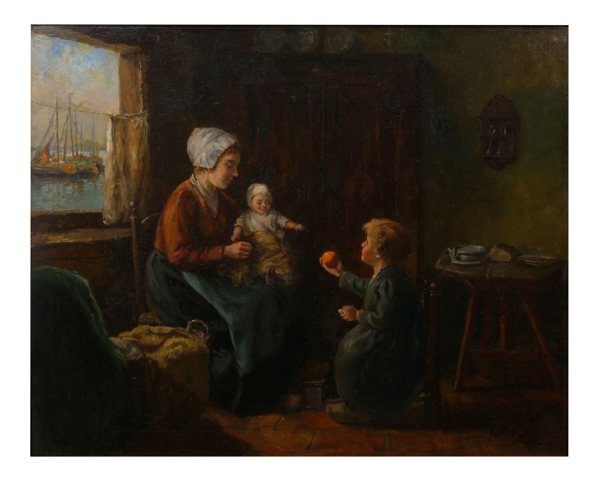 Dutch Interior Antique Oil Painting By John H Henrici American 1874 1958 Chairish