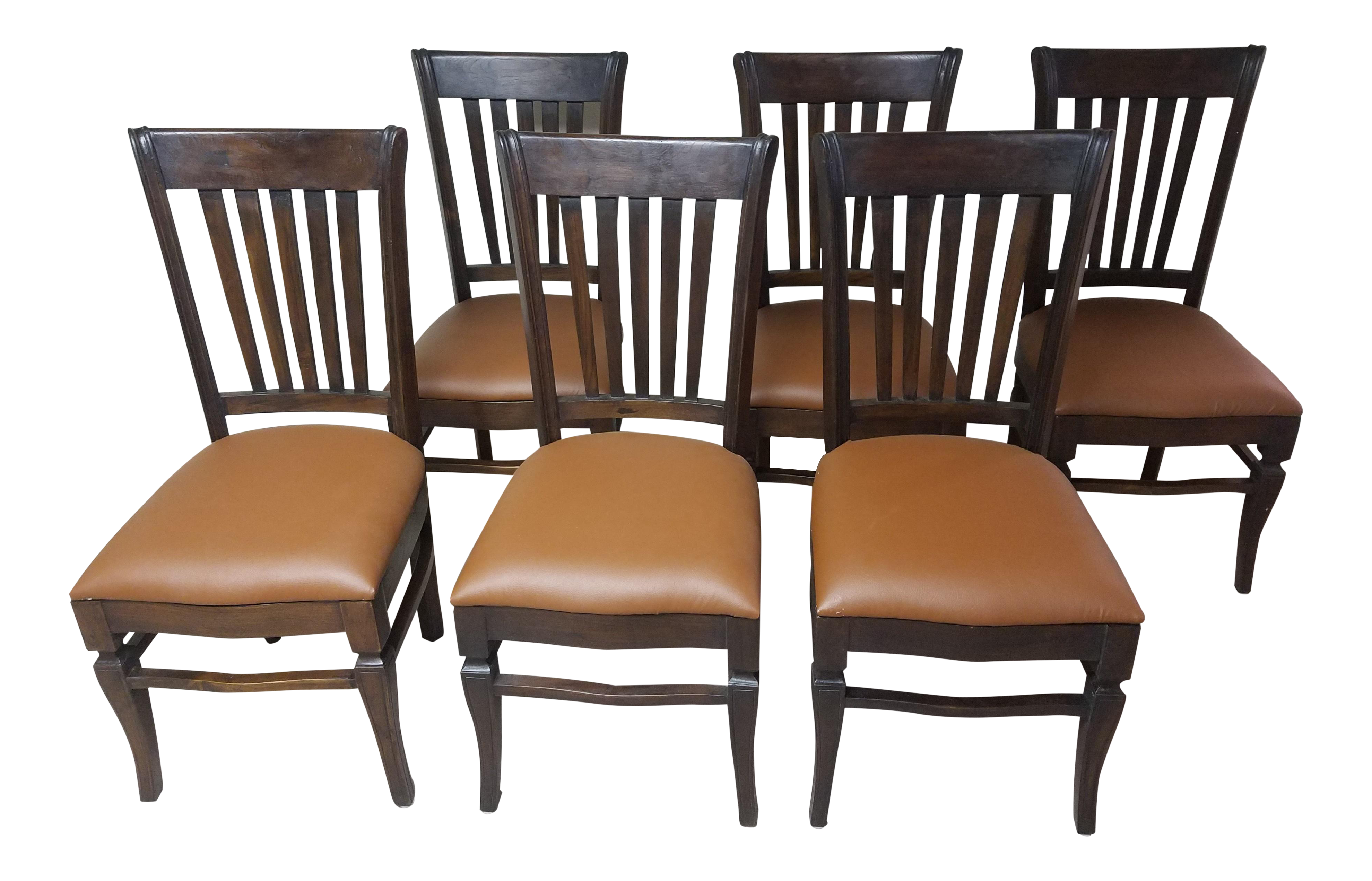 Teak Wood Classic Dining Chairs Set Of 6 Chairish