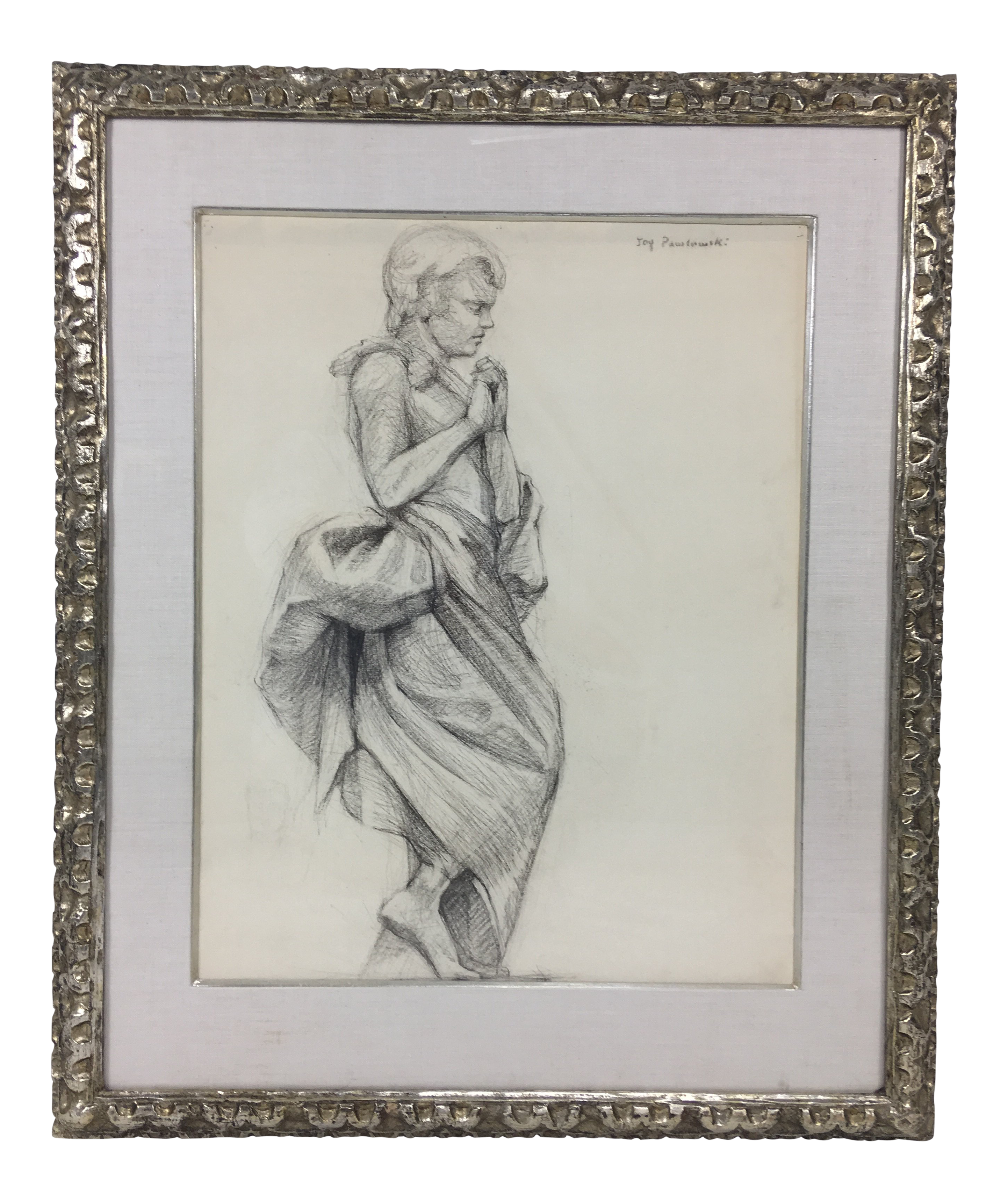 Academy style woman in classical dress pencil drawing