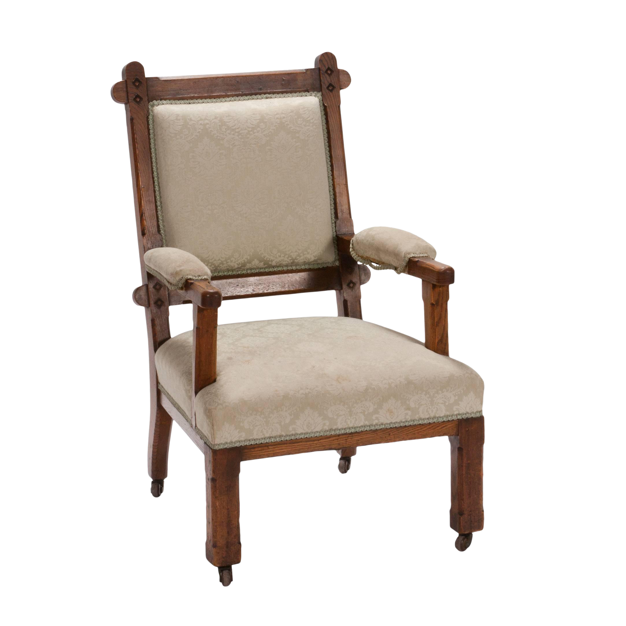 High End Early 20th Century English Arts And Crafts Oak Chair Decaso
