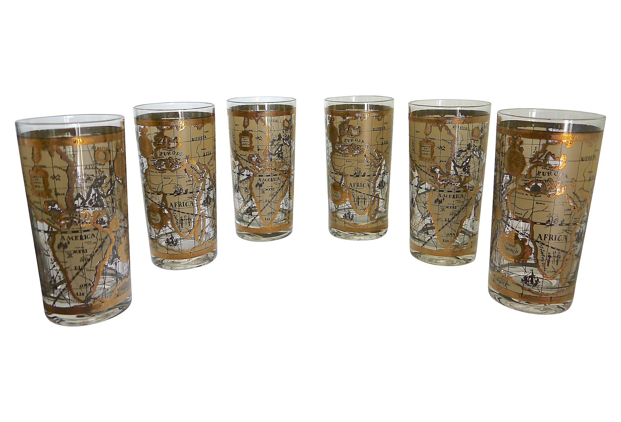 Old world map glasses set of 6 chairish gumiabroncs Gallery