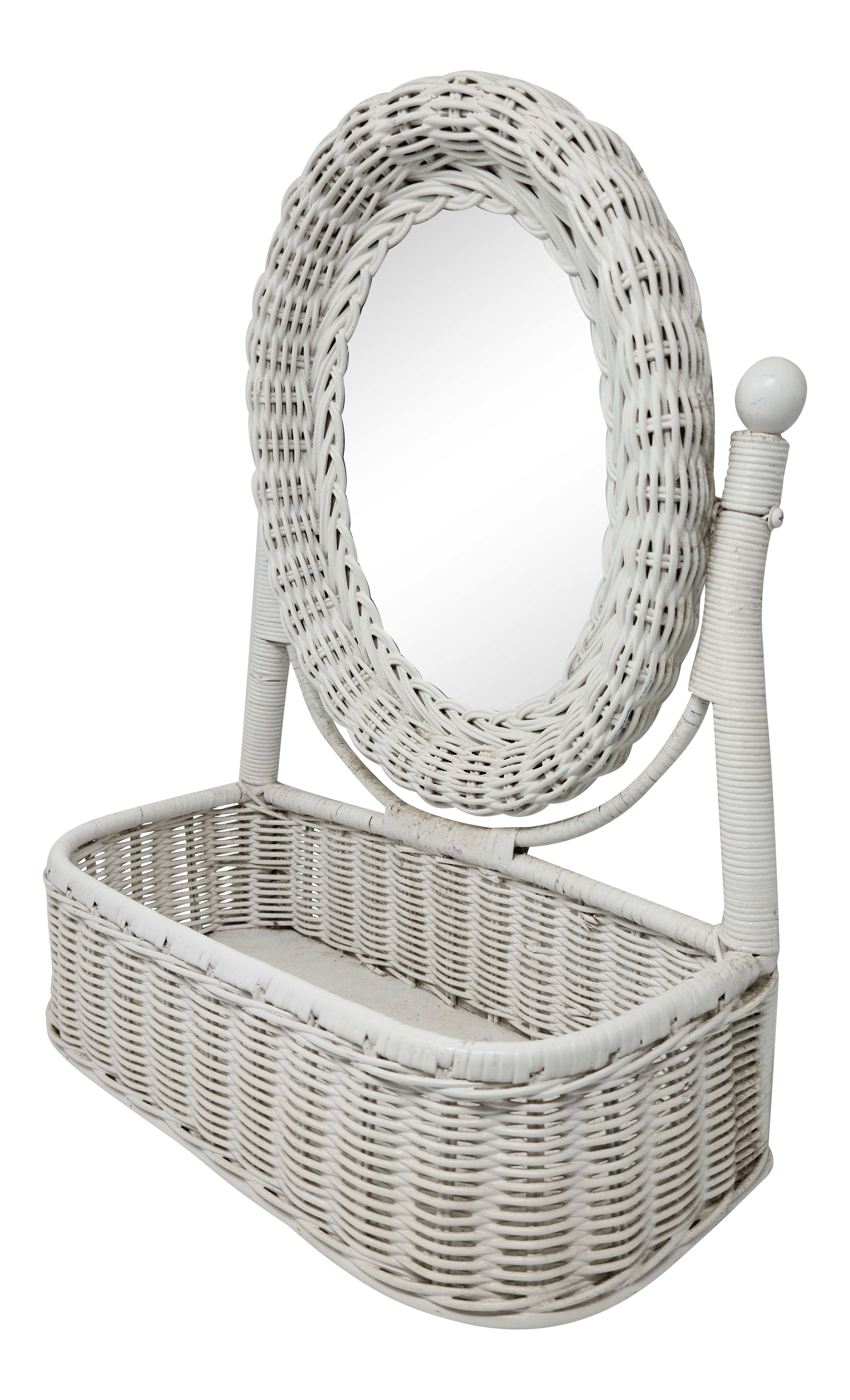 Vintage White Wicker Tabletop Vanity Mirror With Catchall Boho Chic Chairish