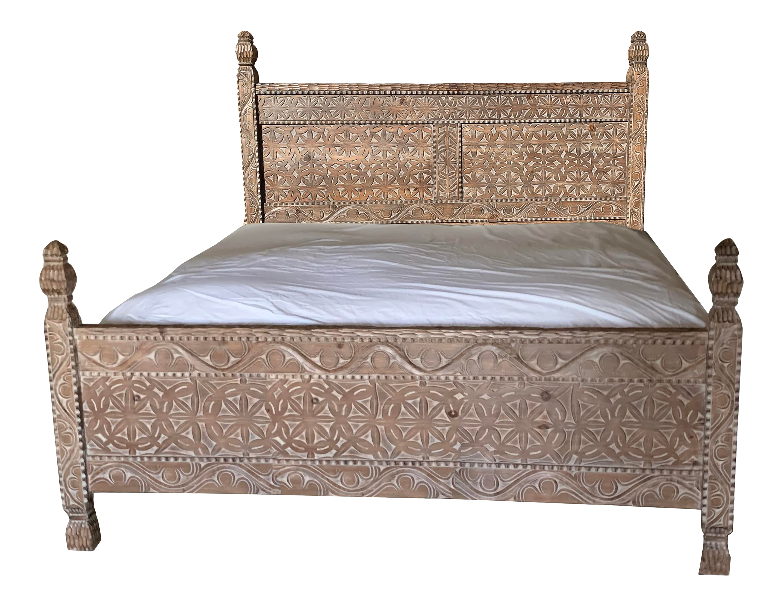 1990s Vintage Moroccan Hand Carved Wood Bedframe Chairish