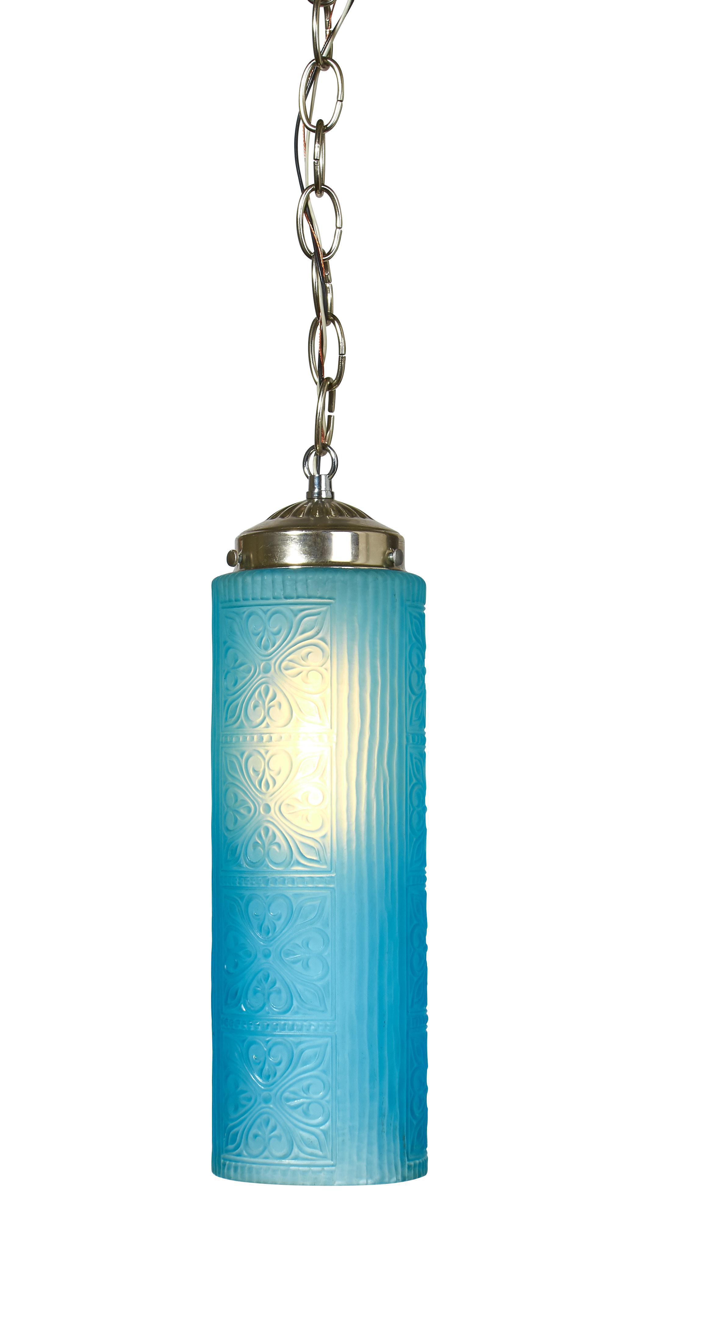 Textured blue glass pendant light