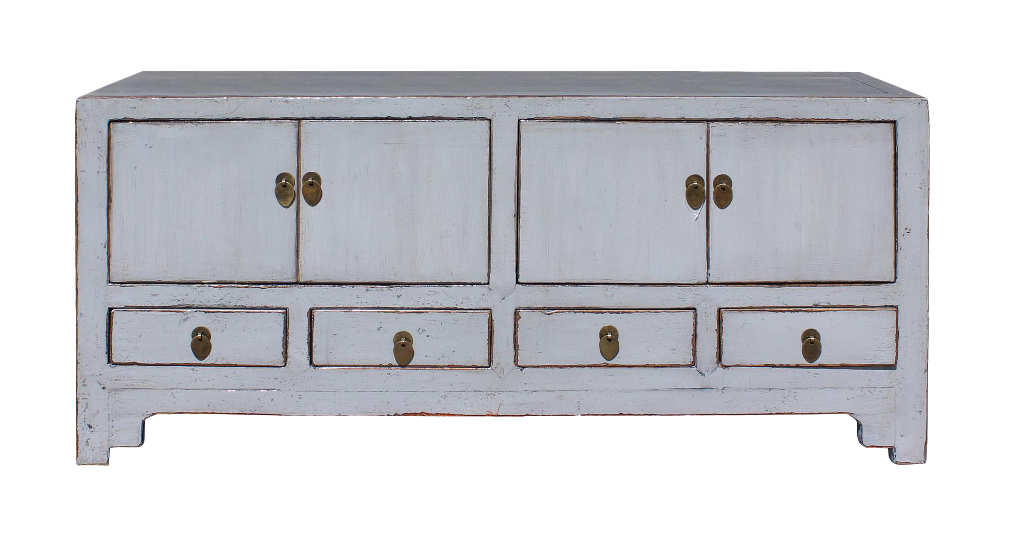 Chinese distressed gray low tv console table cabinet chairish - Sofa table with cabinets ...
