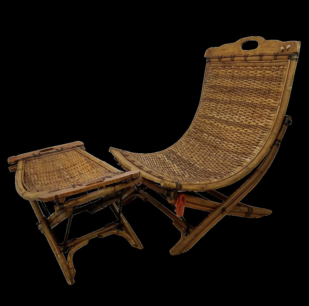 Vintage Rattan Sling Chair With Ottoman Chairish
