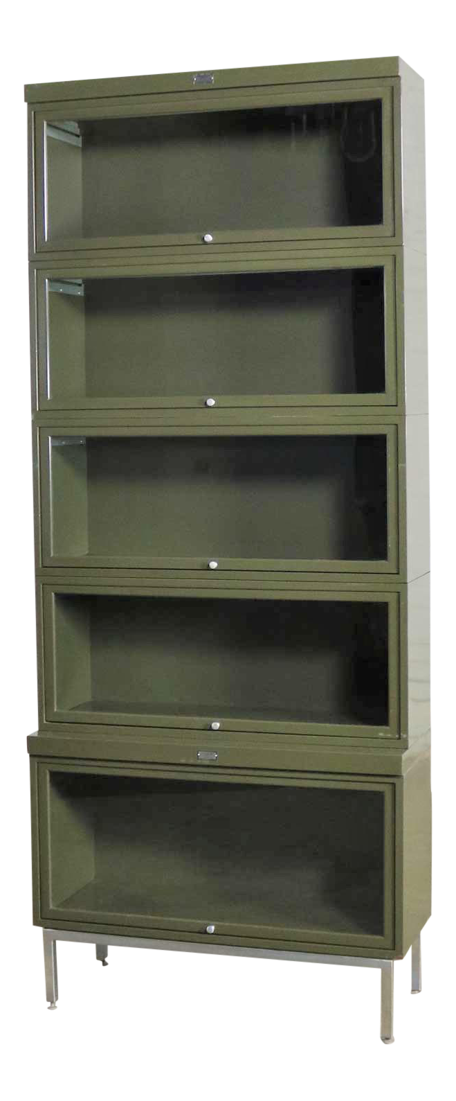 Industrial Army Green Metal Barrister Five Section Stacking Bookcase With Glass Fronts