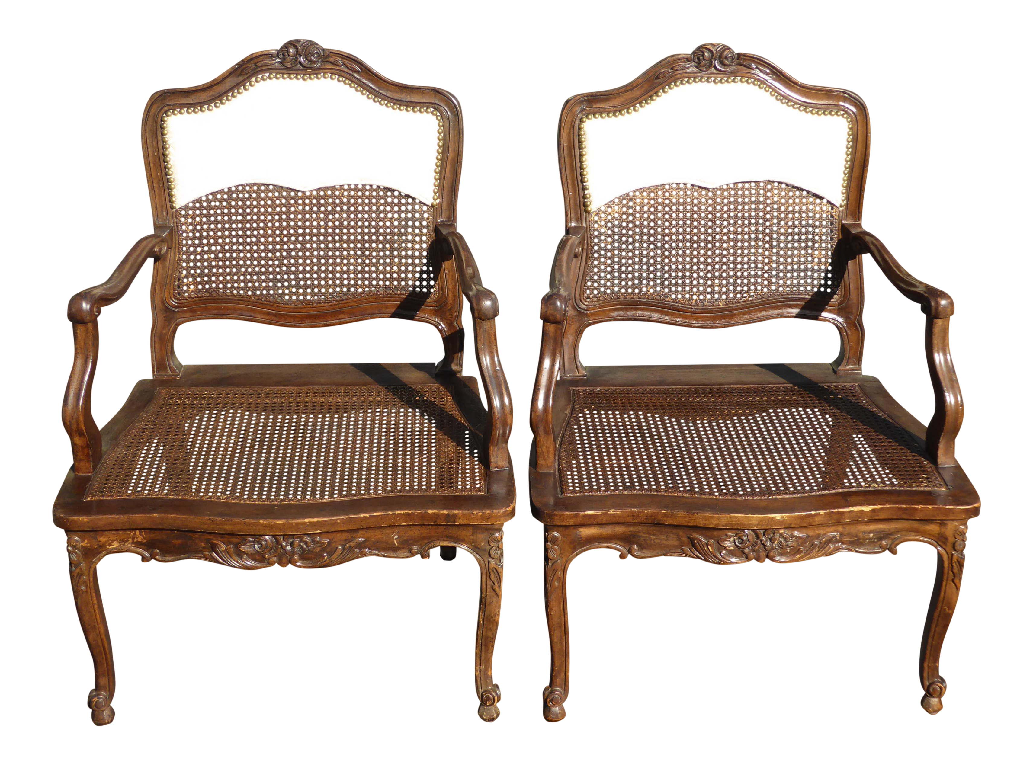 Magnificent Vintage French Country Carved Wood Cane Accent Chairs A Pair Unemploymentrelief Wooden Chair Designs For Living Room Unemploymentrelieforg