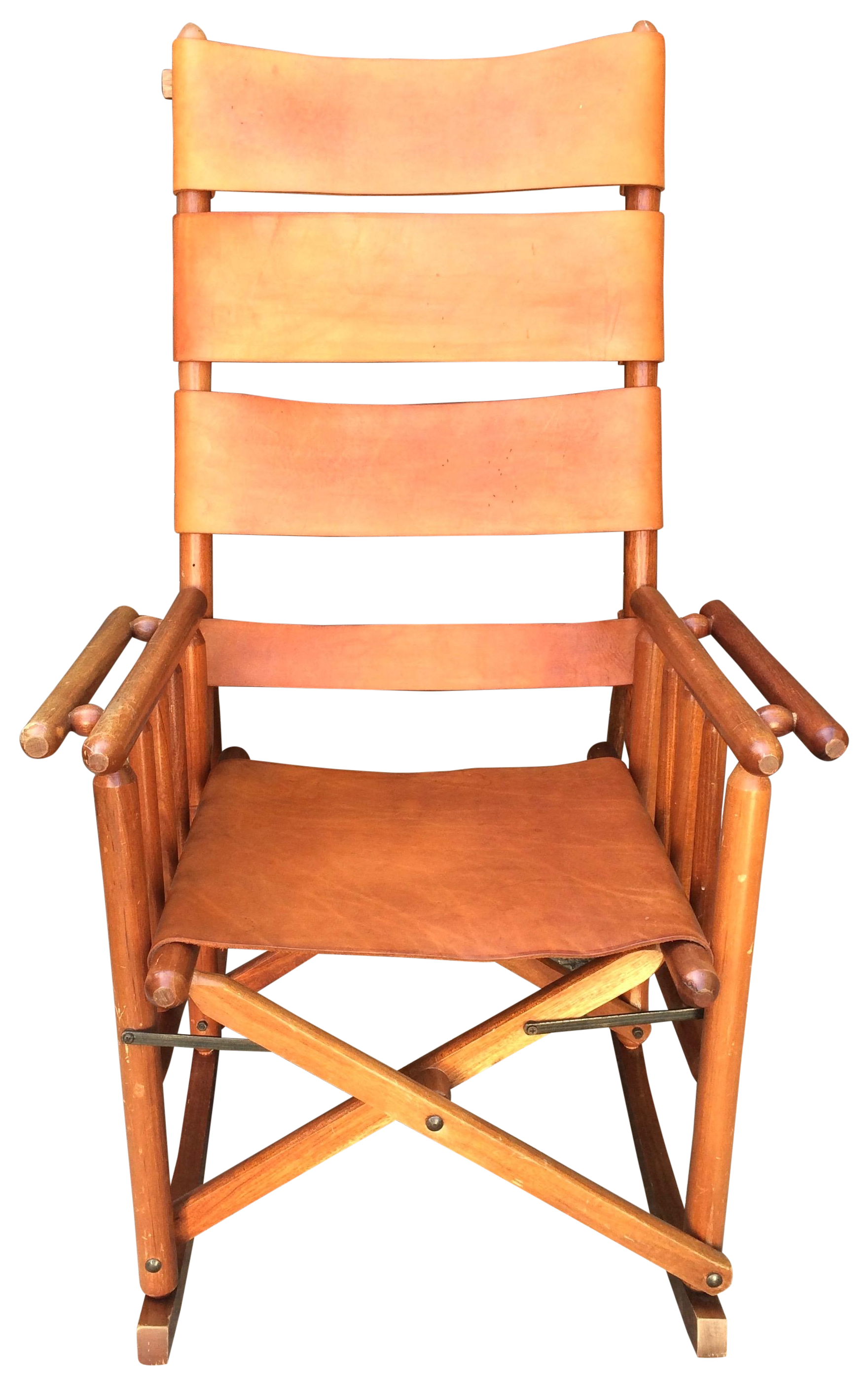Mid Century Teak & Leather Folding Rocking Chair