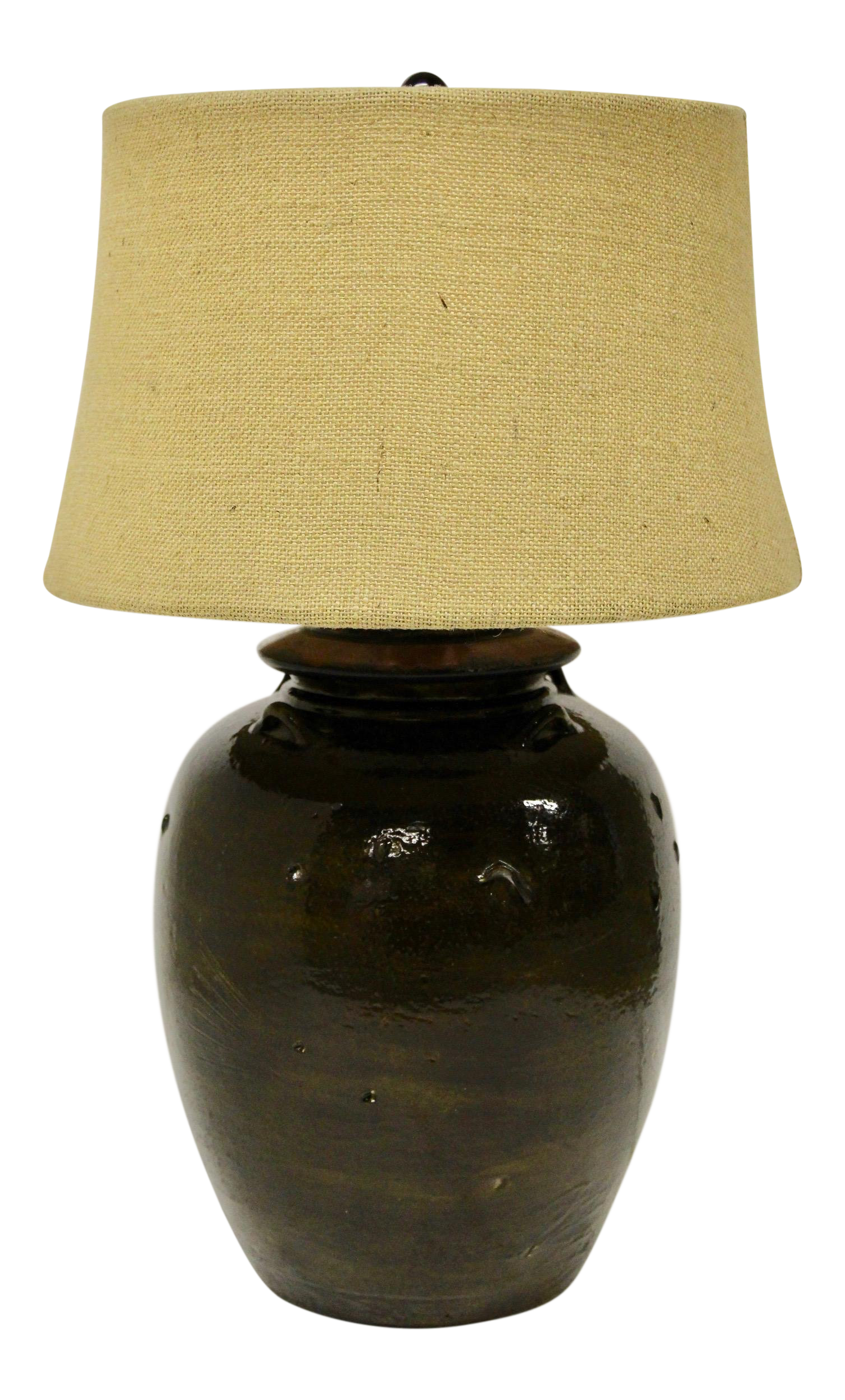 Pottery Barn Courtney Ceramic Table Lamp With Burlap Shade Chairish