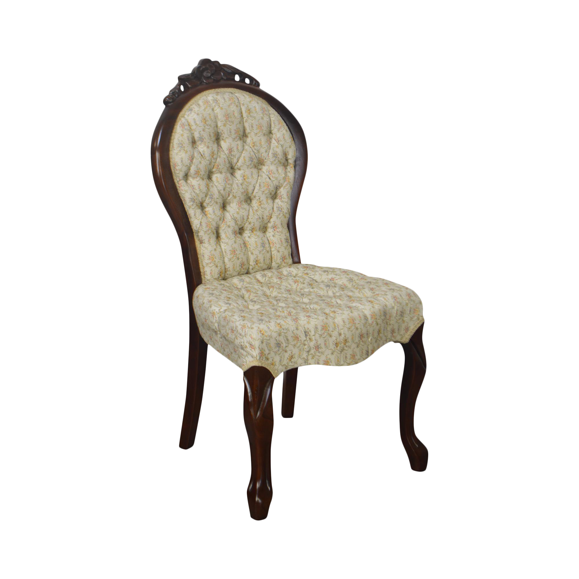 Exceptionnel Victorian Style Rose Carved Mahogany Tufted Slipper Chair | Chairish