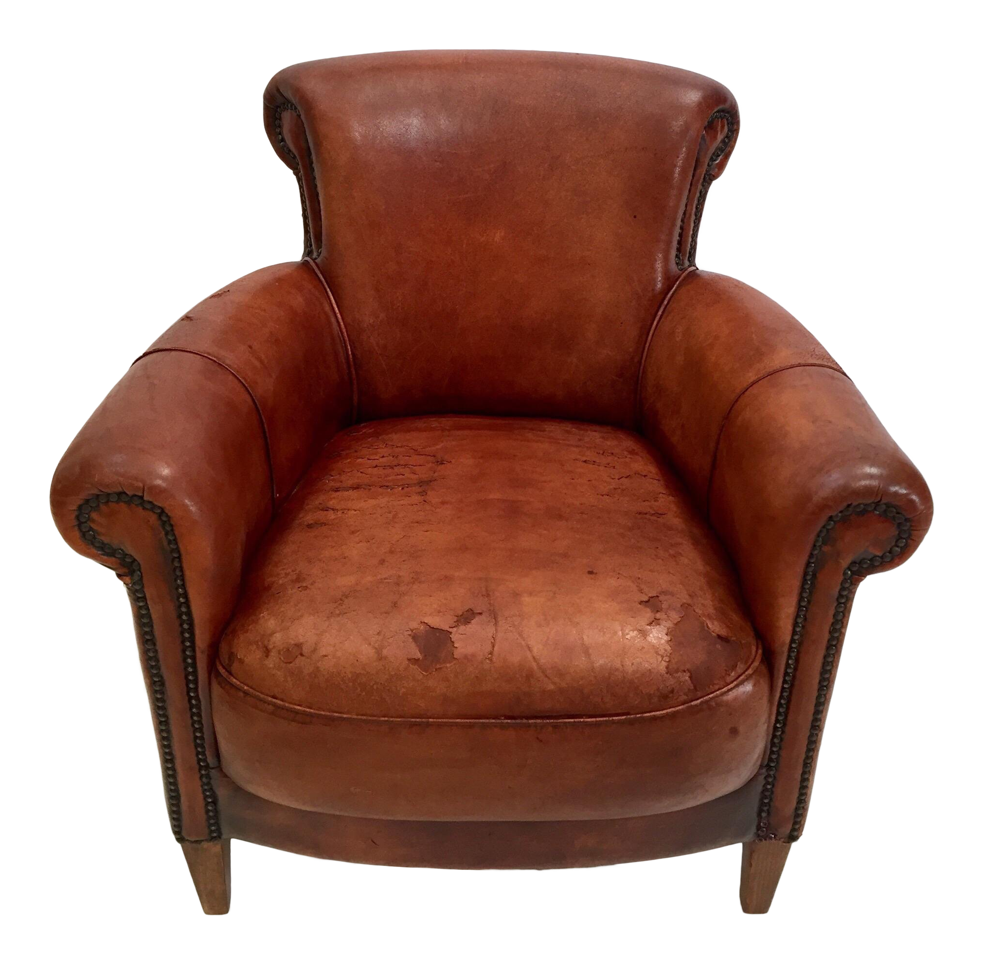 Awesome French Art Deco Style Library Leather Club Chair With Nailhead Details Camellatalisay Diy Chair Ideas Camellatalisaycom