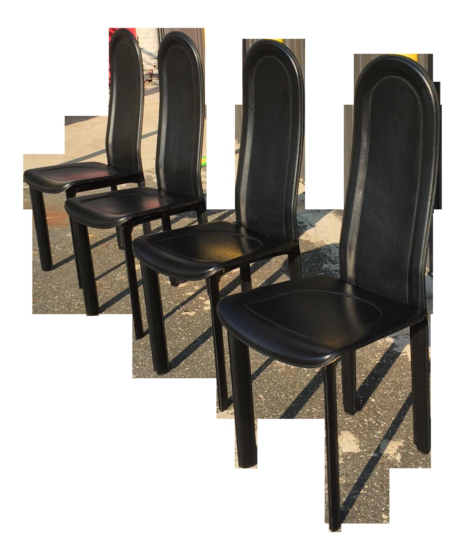 Modern Italian Black Leather Dining Chairs By Artedi Set Of 4 Chairish