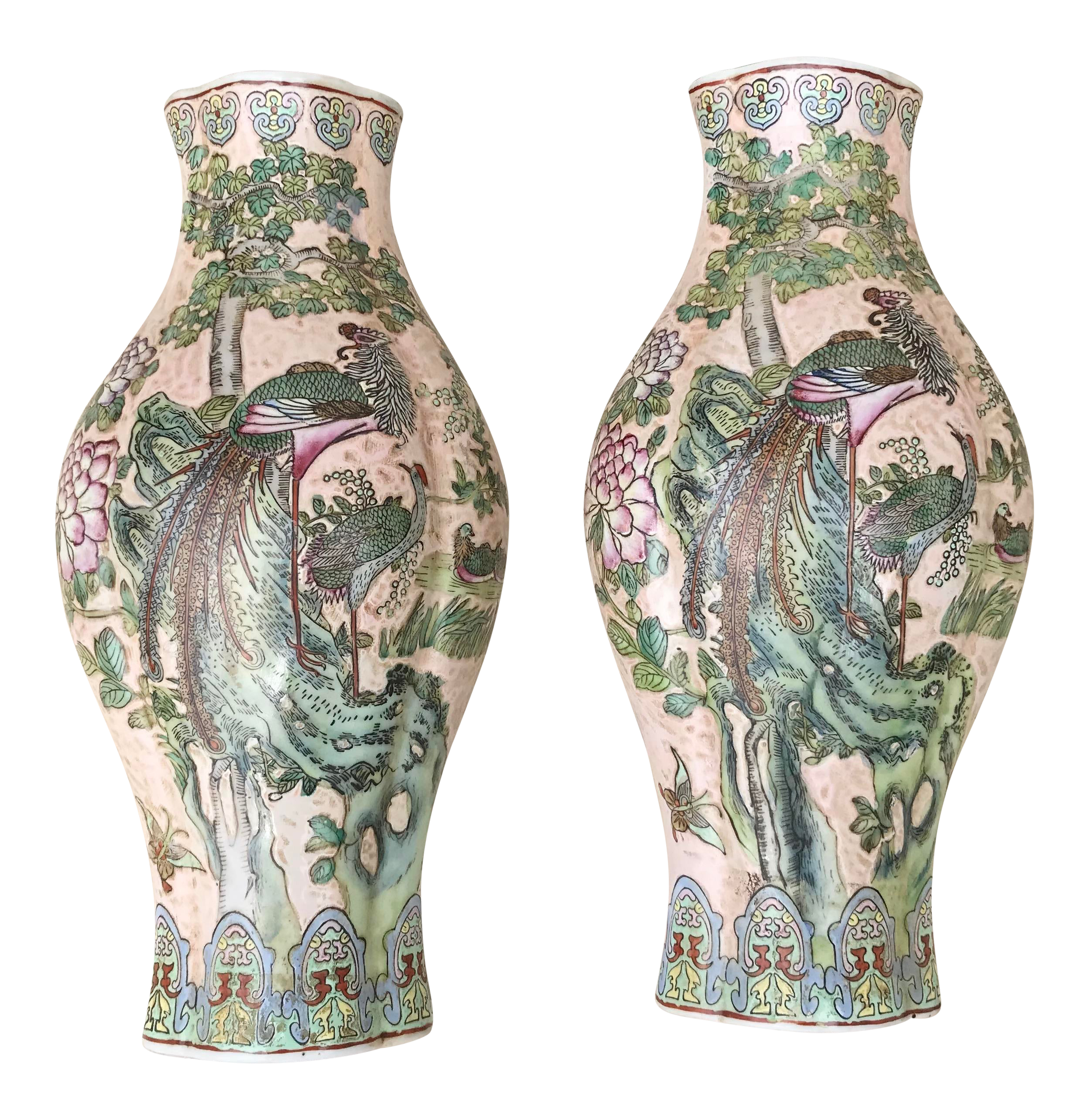 Large Chinoiserie Wall Vases A Pair Chairish