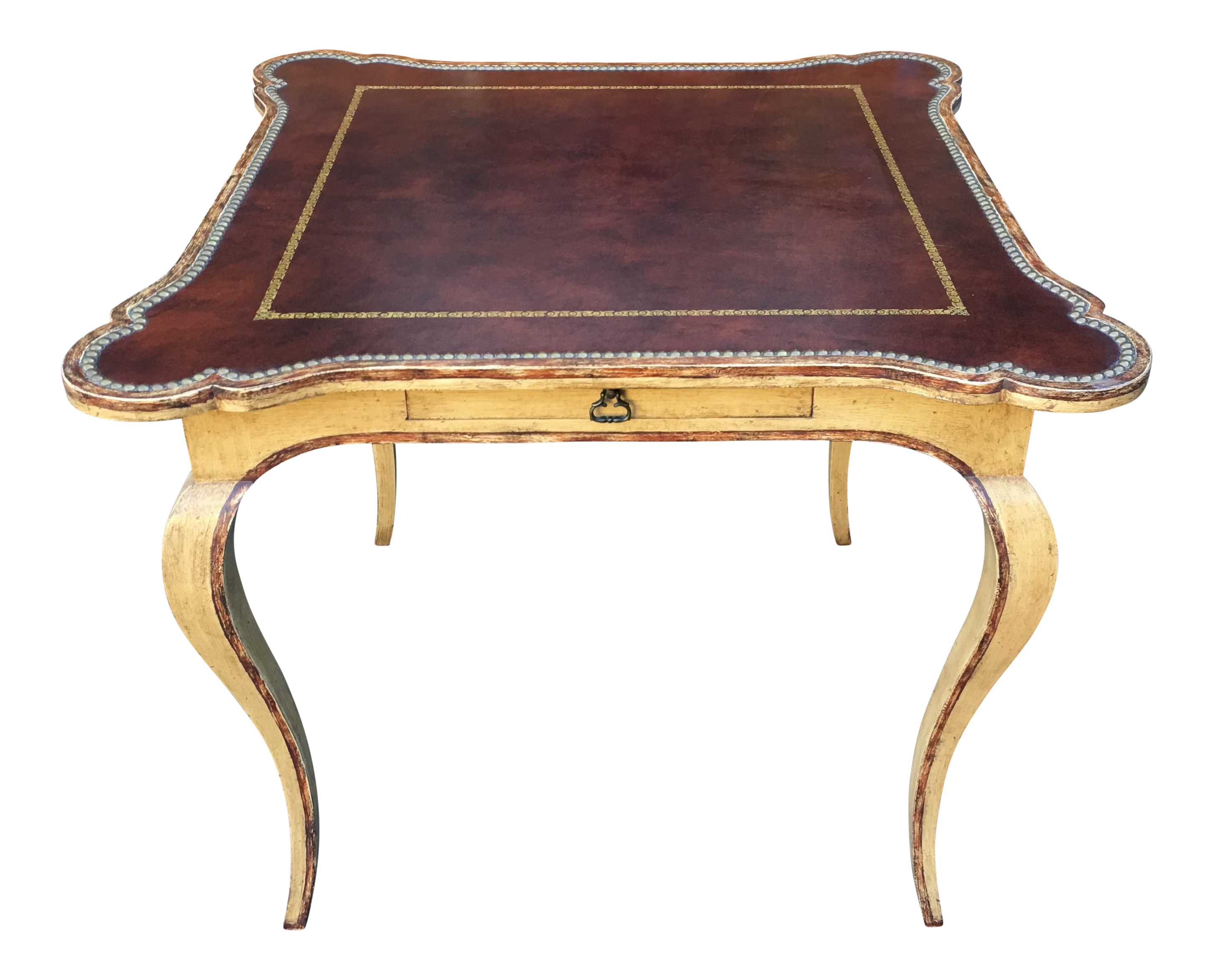 Superb Minton Spidell Leather Top Card Or Game Table