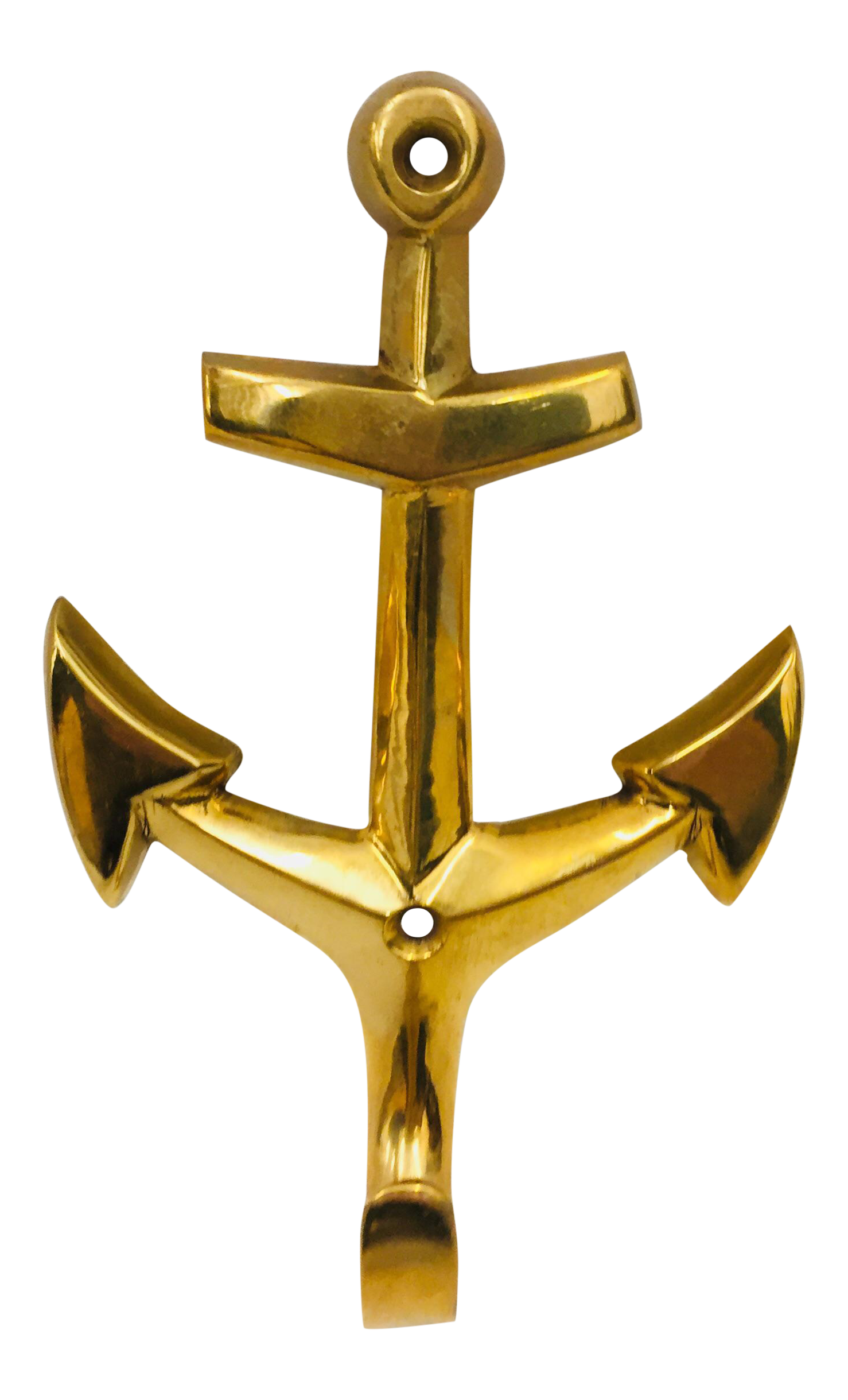 Vintage Brass Anchor Wall Hook | Chairish