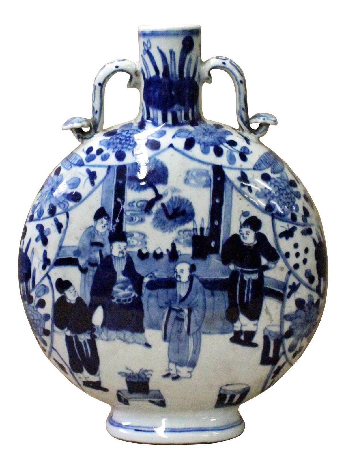 Chinese blue white porcelain scenery round flat flask vase chairish reviewsmspy