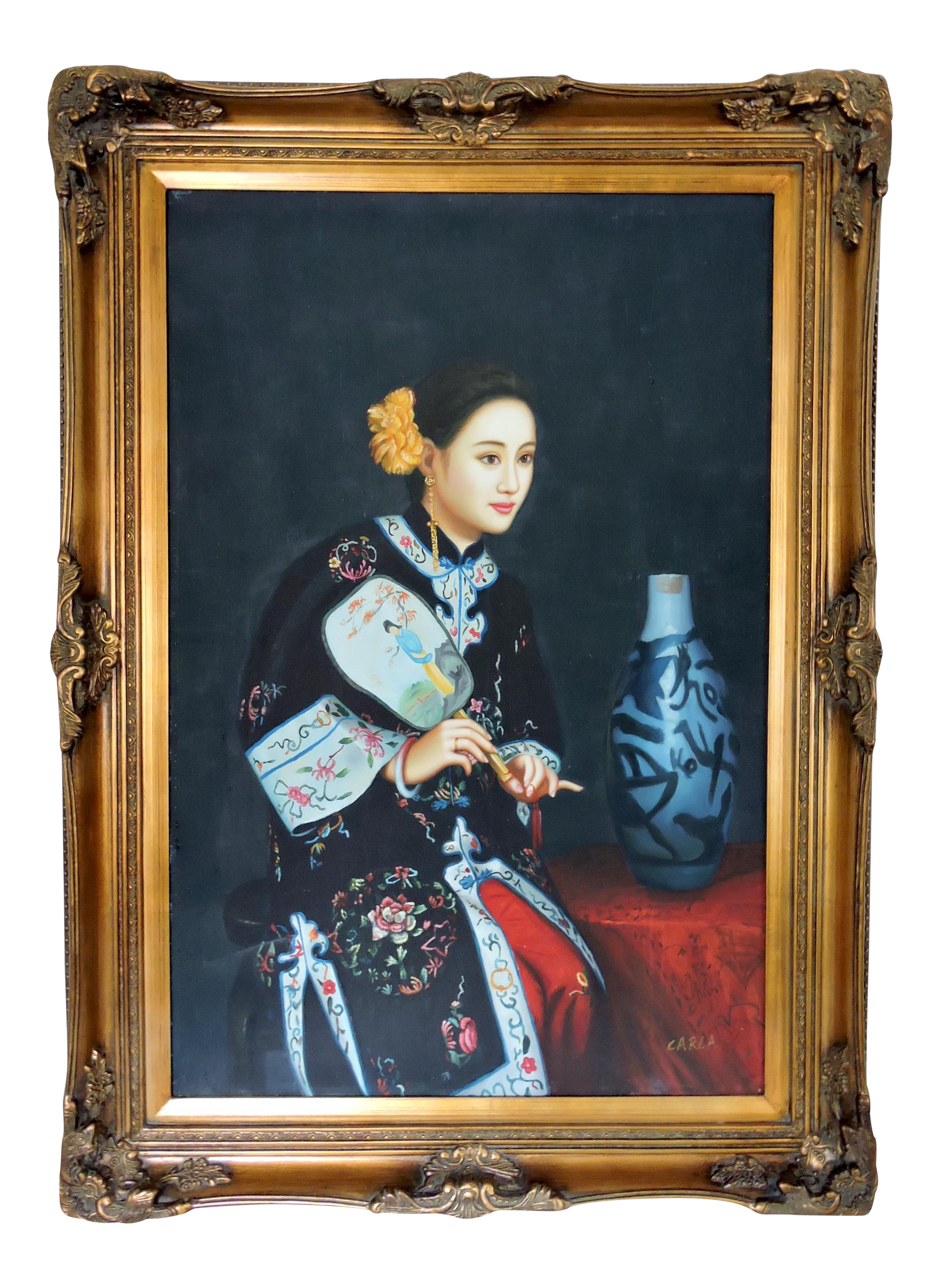 96a245b166ed Traditional Oil Painting of a Young Chinese Girl With Fan