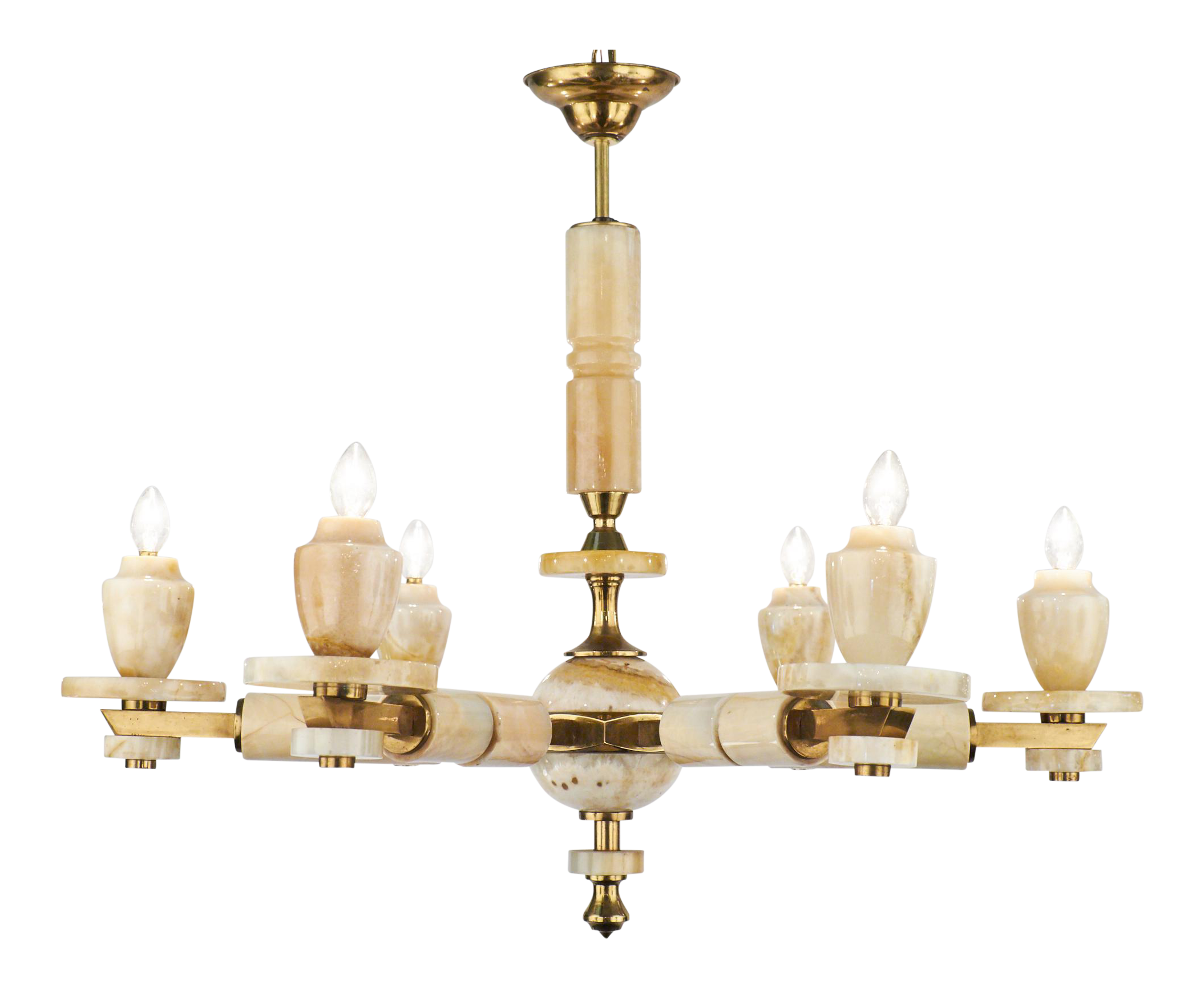 Exceptional vintage italian brass onyx chandelier decaso arubaitofo Gallery