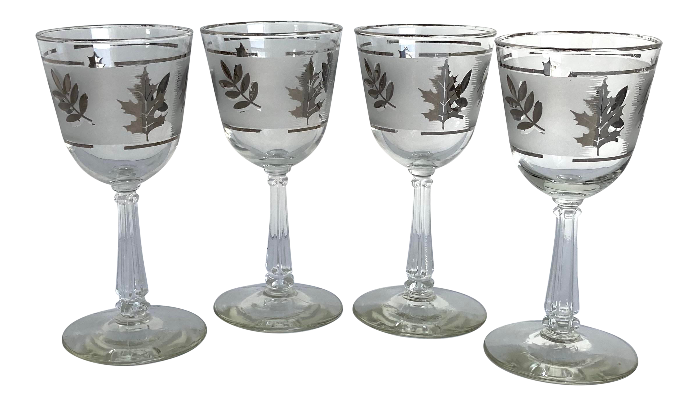 Vintage 1960s Libbey Silver Foliage On Frosted Glasses Set Of 4 Chairish