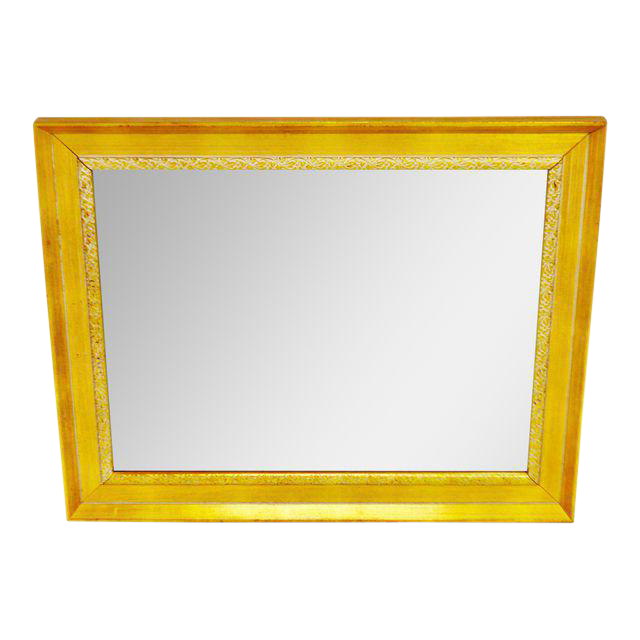 Vintage Gold and White Striated Paint Framed Mirror | Chairish