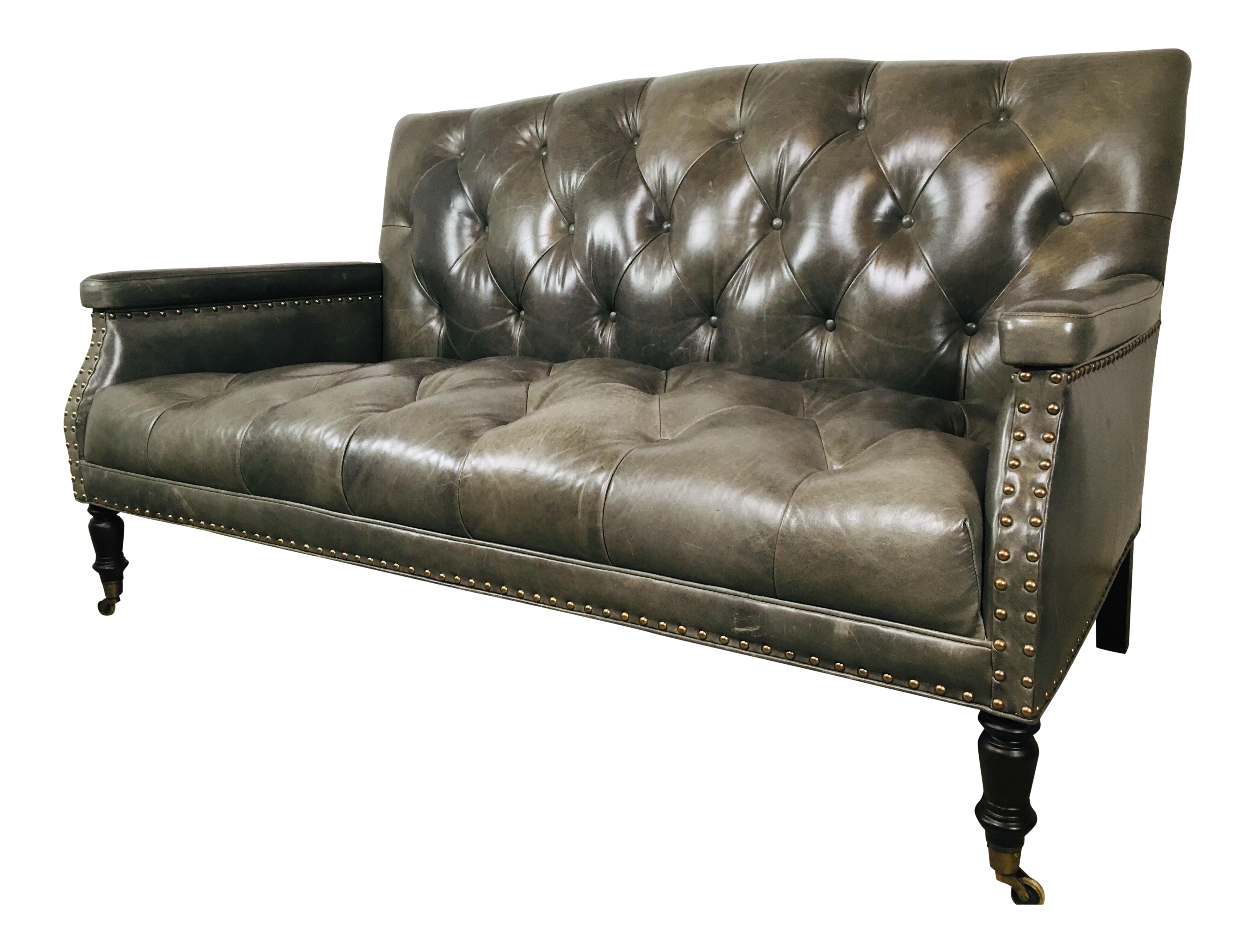 21st Century Vintage Contemporary Leather Tufted Sofa | Chairish