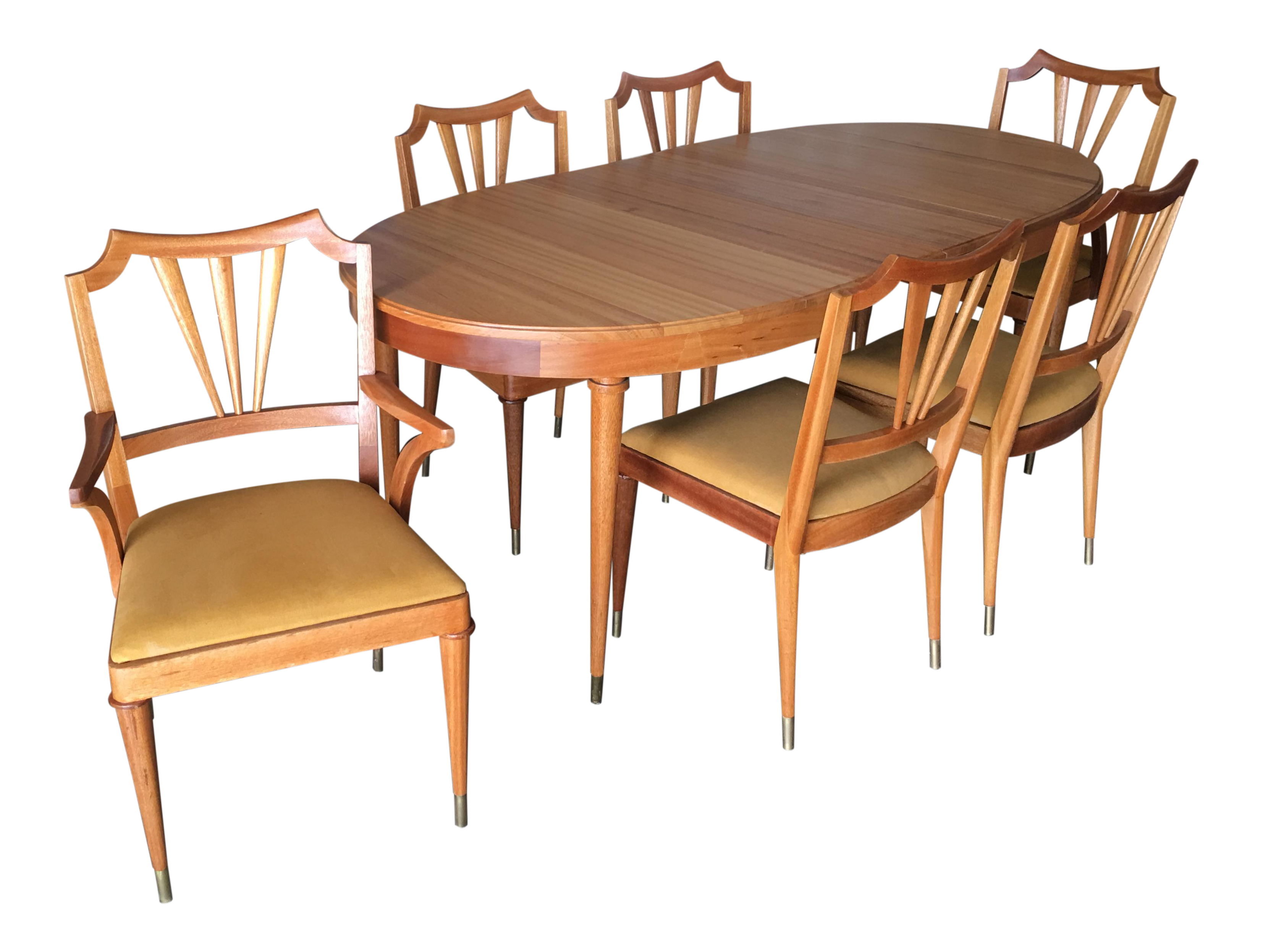 Mid-Century Walnut Dining Room Table & Chairs Set