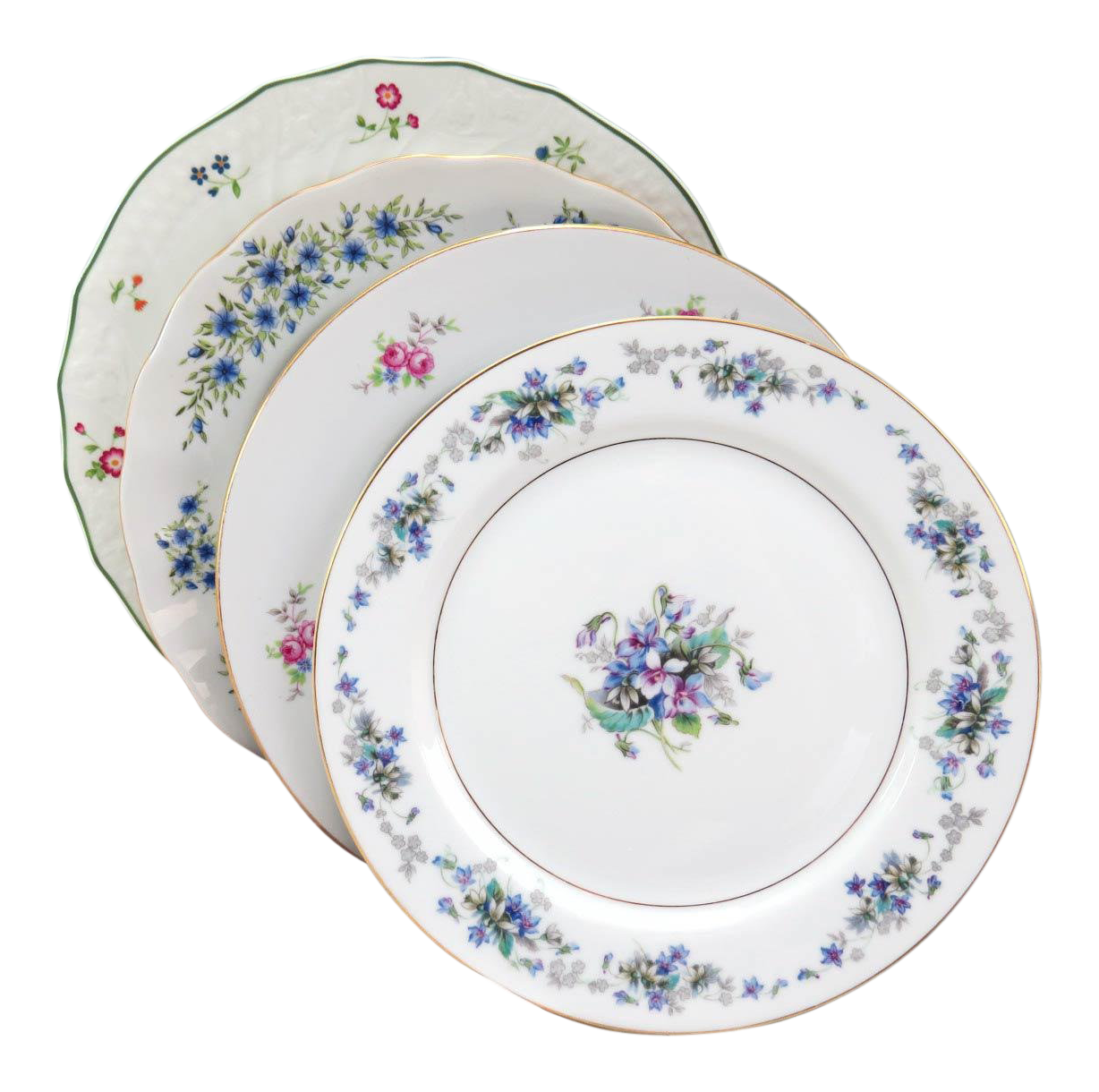 sc 1 st  Chairish & Vintage Mismatched Fine China Dinner Plates - Set of 4 | Chairish