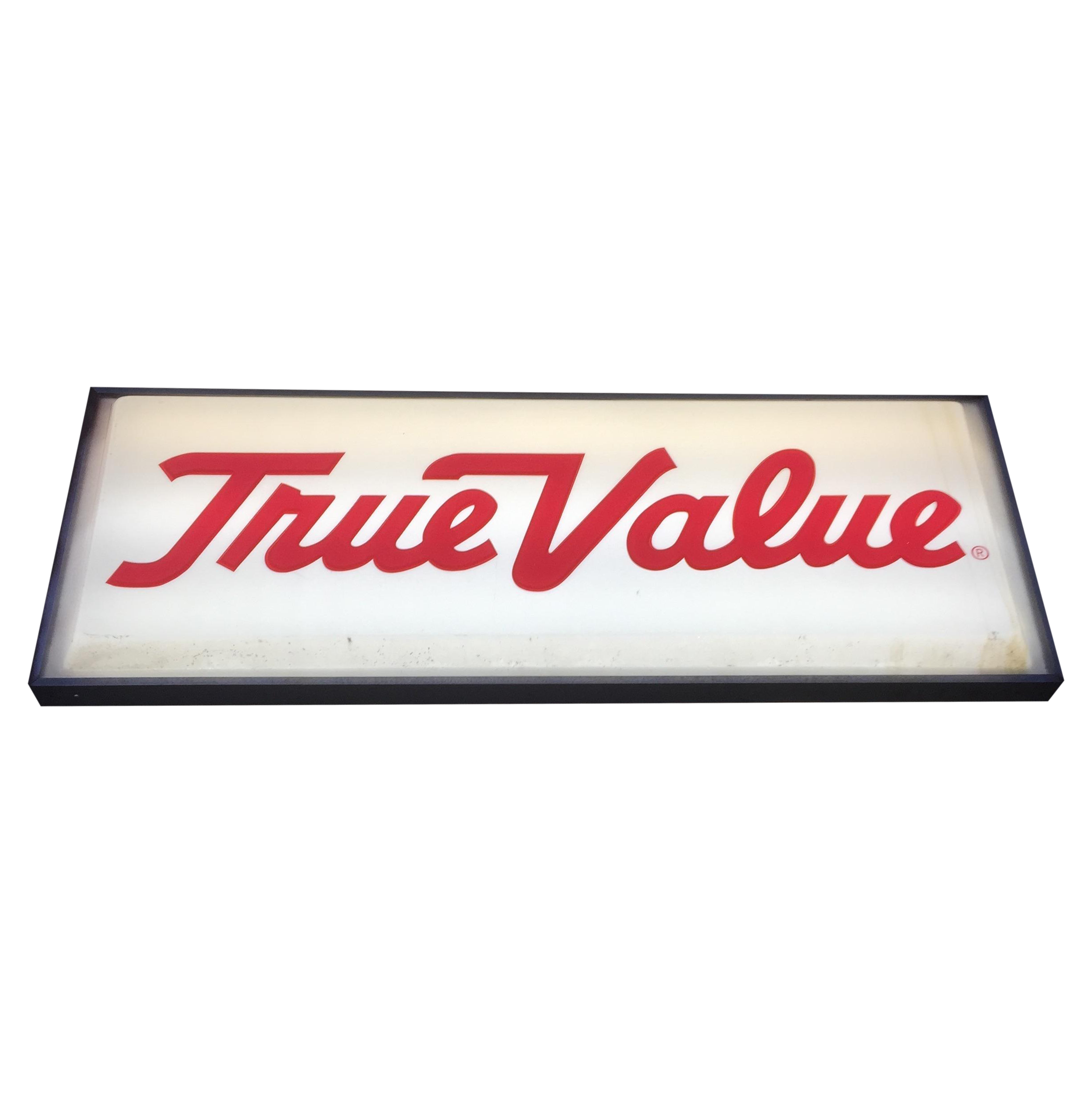 Large Vintage \'True Value\' Reversible Lighted Sign | Chairish
