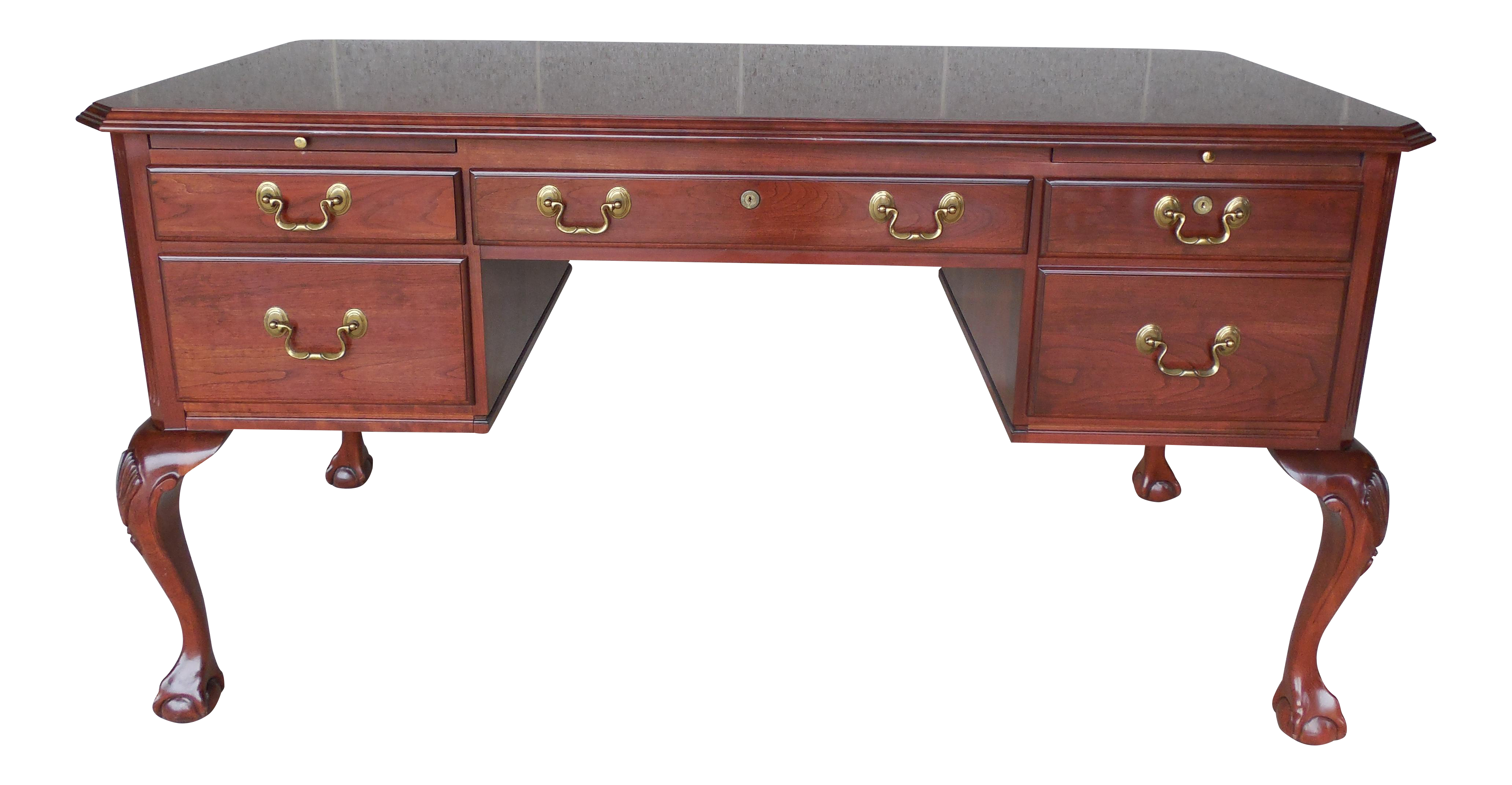 Ethan Allen Georgian Court Chippendale Style Ball Claw Footed Executive Desk Chairish