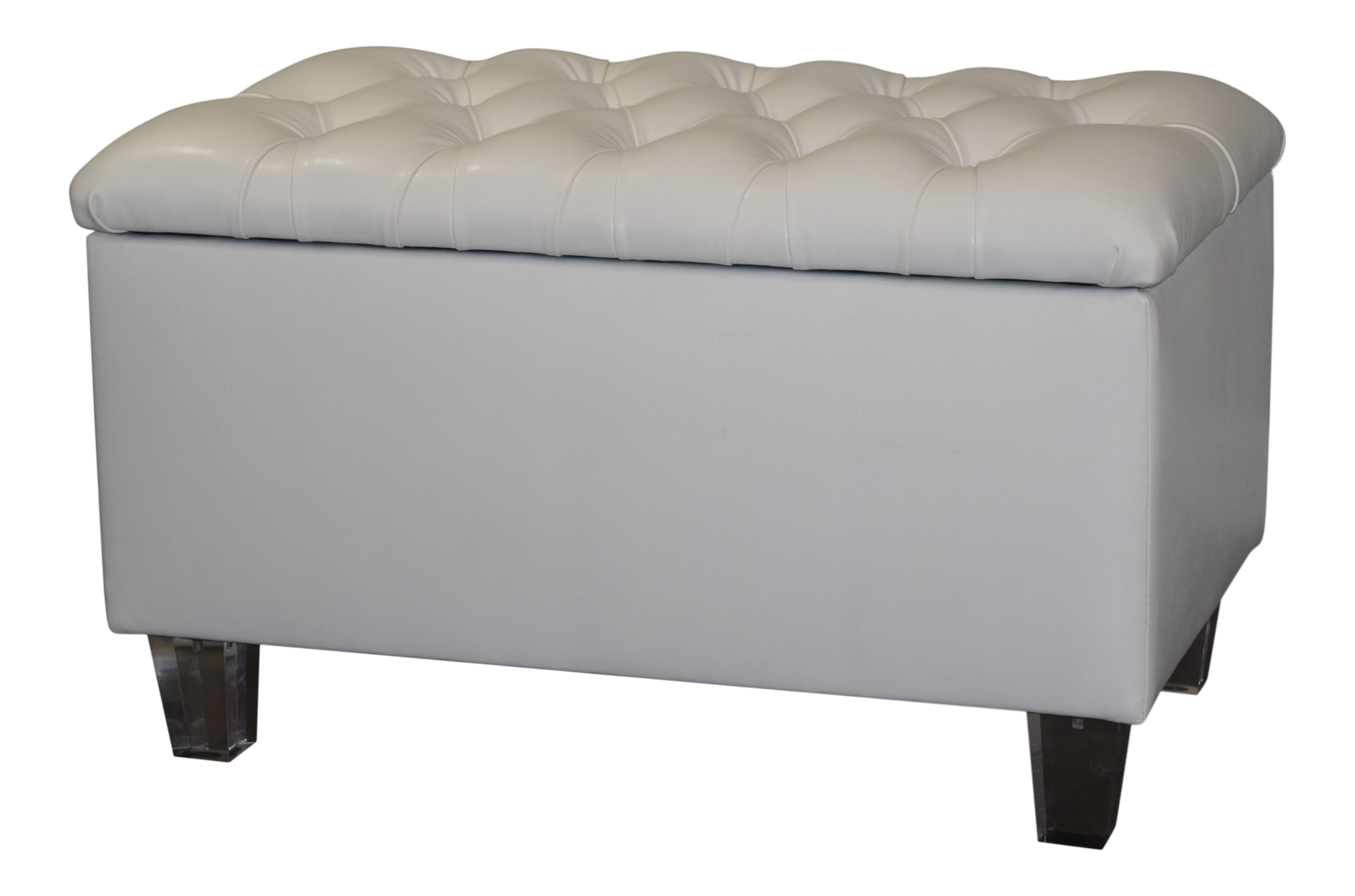Phenomenal Diamond Tufted Storage Bench Ottoman In Off White Faux Leather With Clear Acrylic Legs Evergreenethics Interior Chair Design Evergreenethicsorg