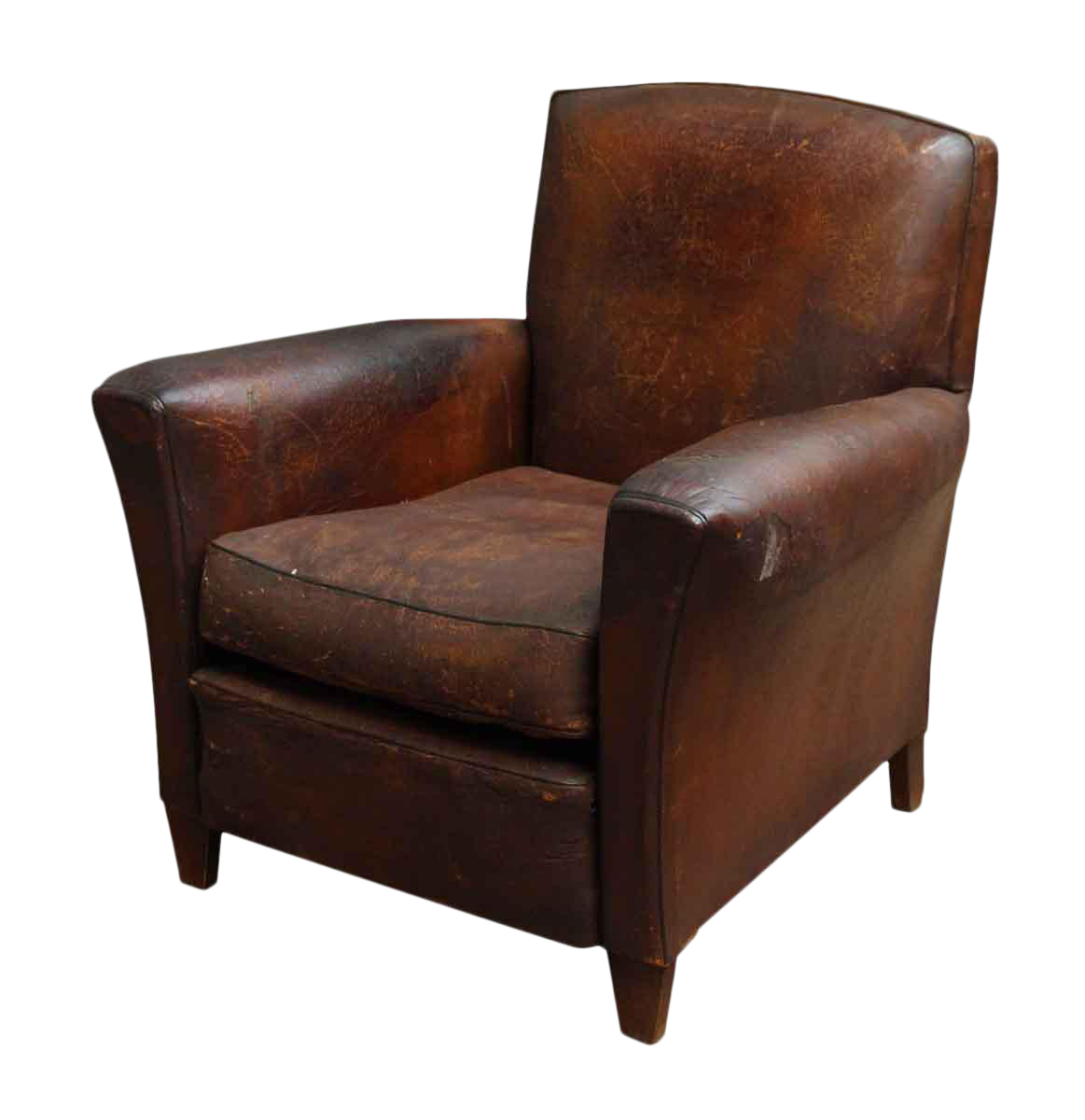 distressed leather club chair distressed leather club chair chairish 6786