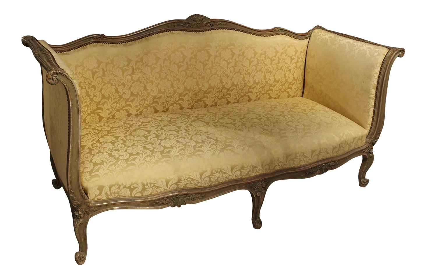 Exquisite Painted Antique French Louis XV Style Canape, 19th Century |  DECASO