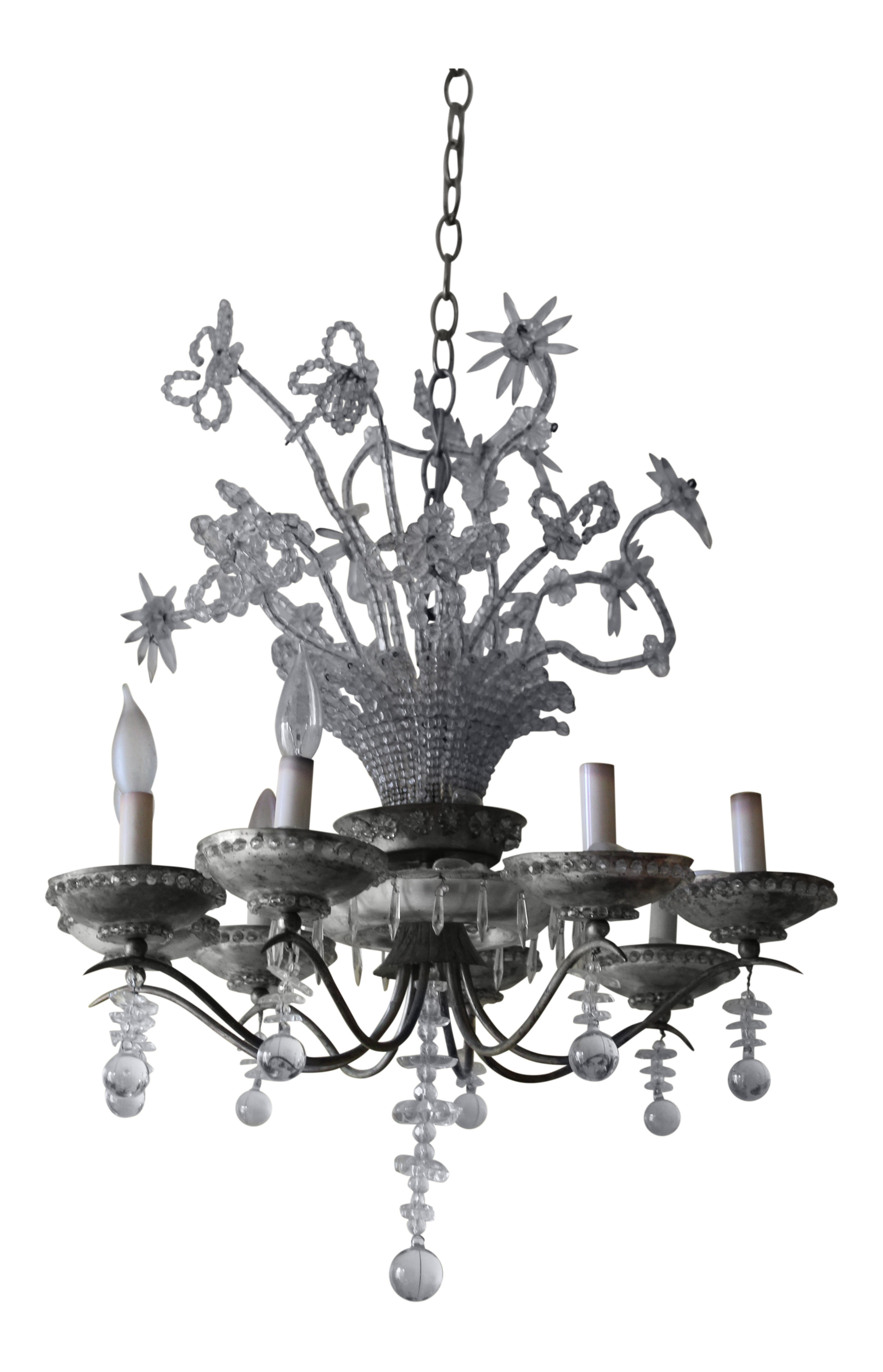 C 1930s French Art Deco 23 Light Maison Bagues Beaded Crystal Flower Vase Form Chandelier Chairish