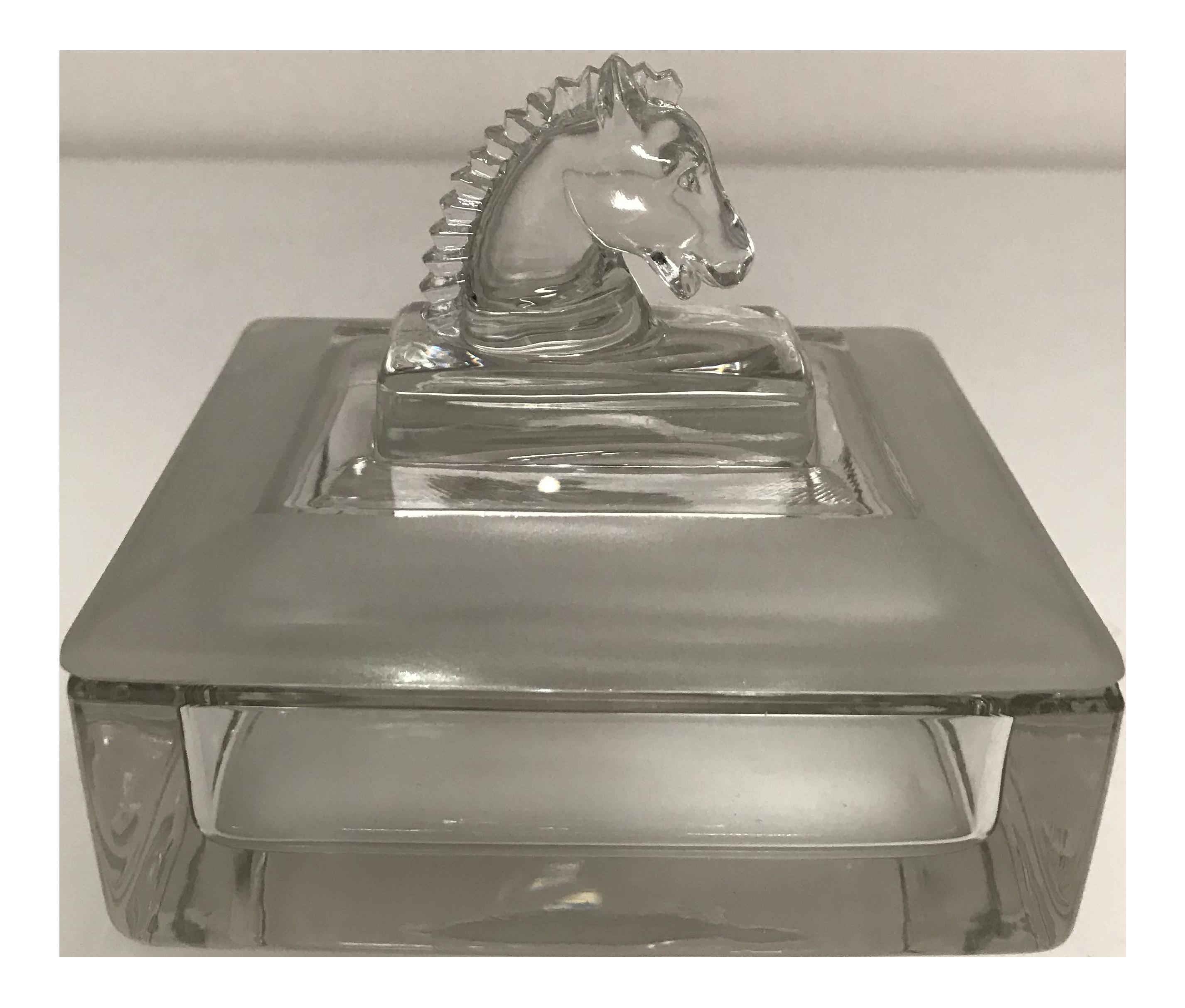 Heisey Puritan Crystal Horse Head Trinket Box Chairish