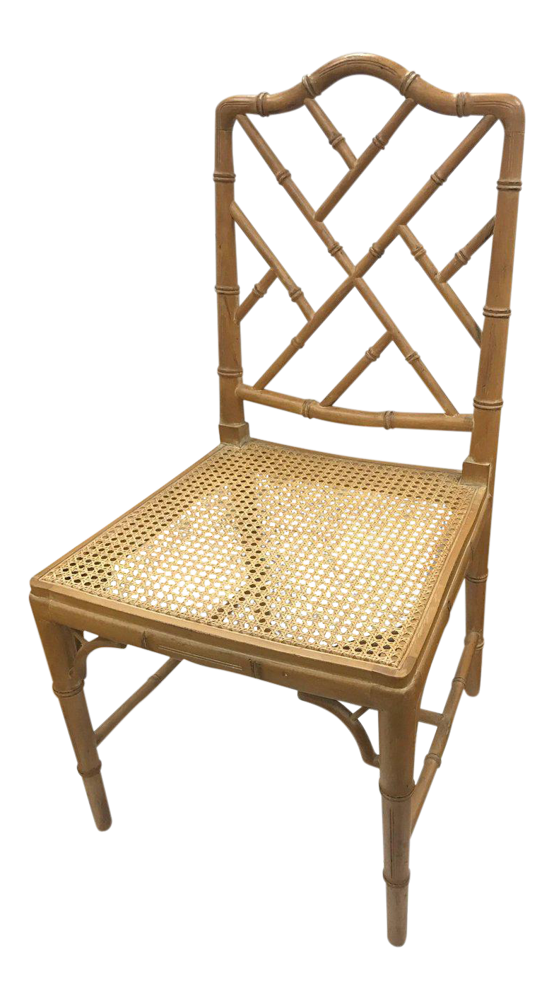 Luxury Four Faux Bamboo Chinese Chippendale Style Cane Dining Chairs |  DECASO