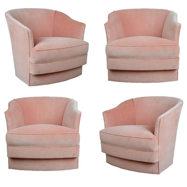 John Stuart Velvet Swivel Club Chairs, Set of Four, circa 1970, New ...