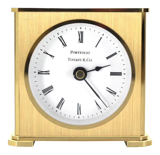 Excellent Vintage Brass Case Tiffany Desk Clock