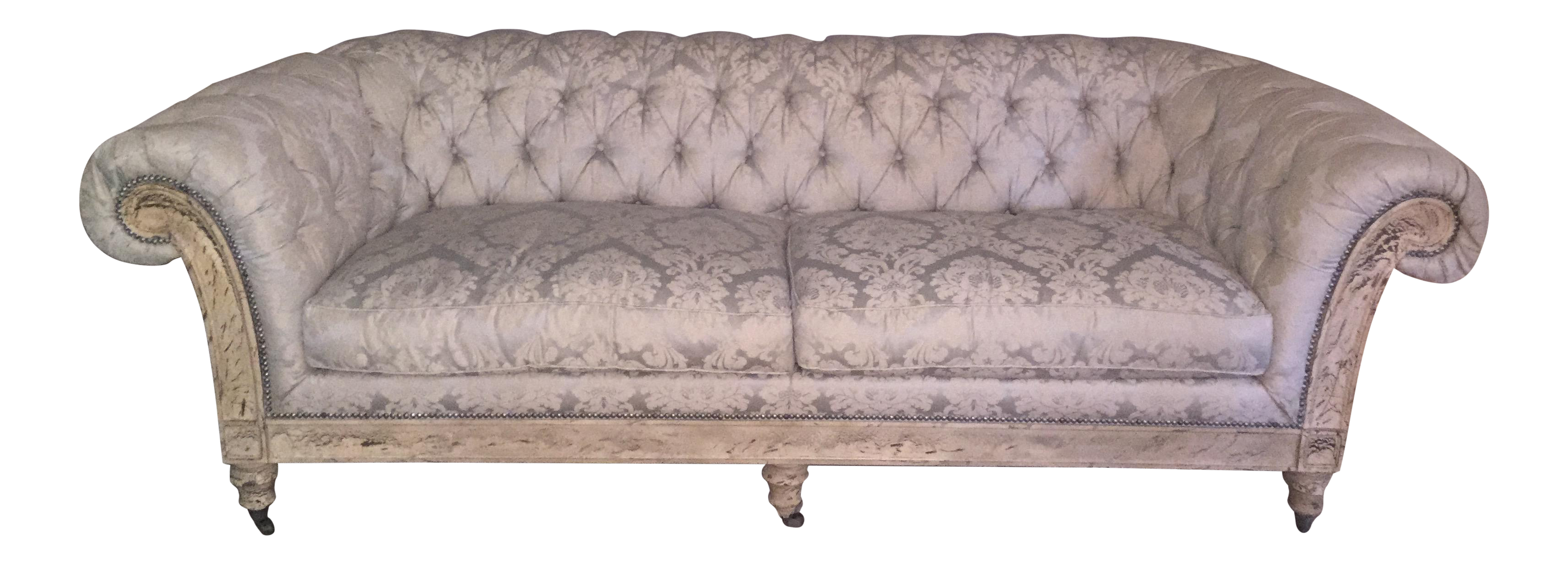 d1929331cb43 Gorgeous Lillian August Chesterfield Down Tufted Sofa Damask Silver Blue  Ivory   Chairish