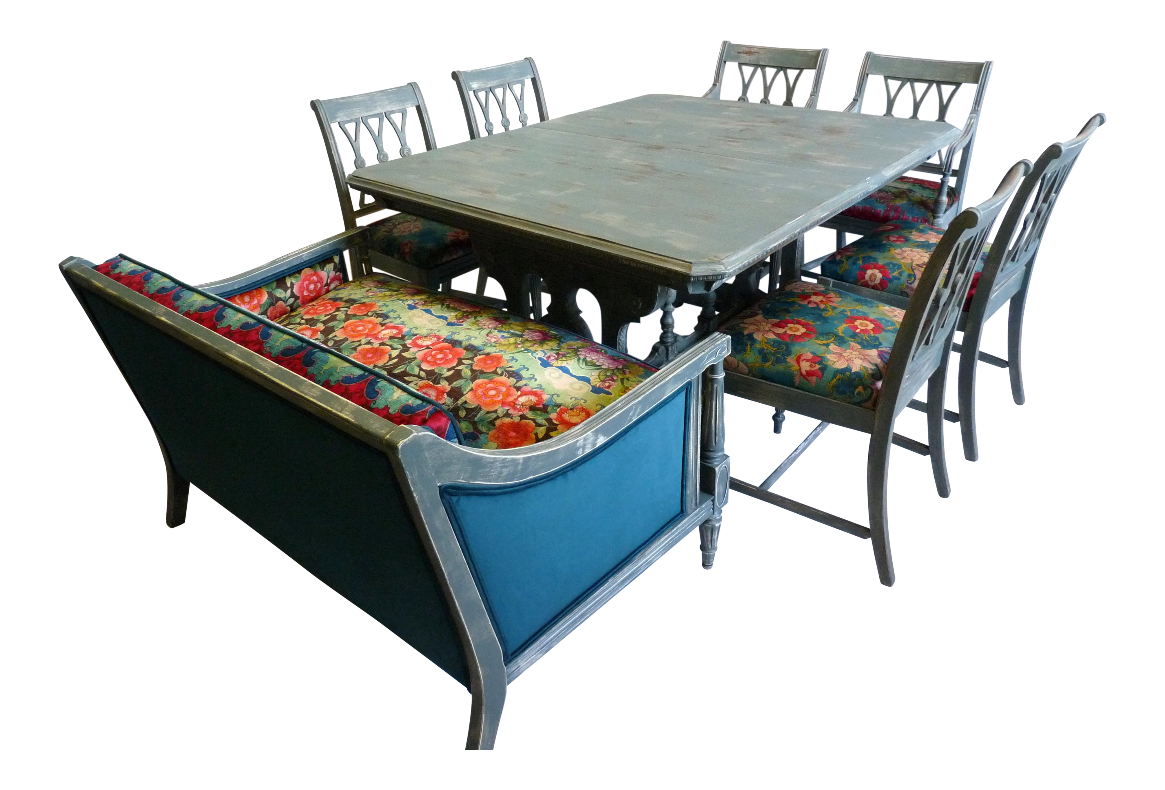 Awesome Vintage Trestle Dining Table With Six Chairs And Upholstered Settee Ibusinesslaw Wood Chair Design Ideas Ibusinesslaworg