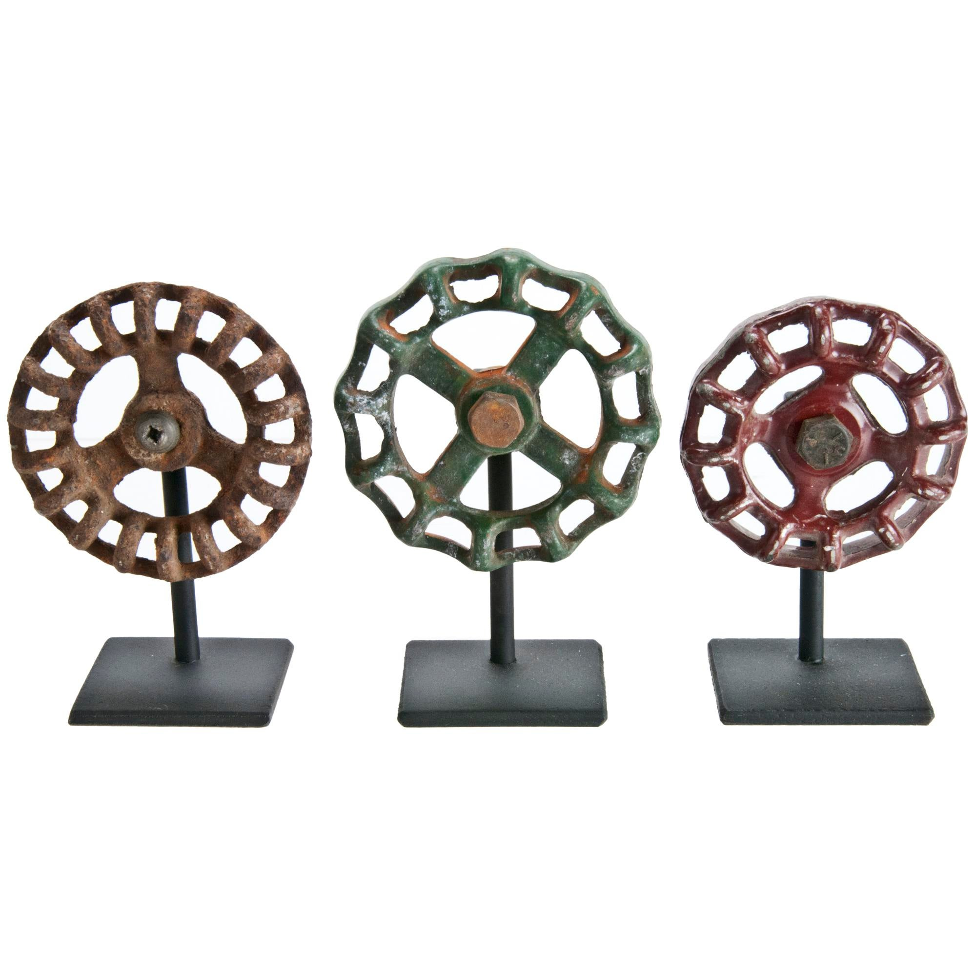 Rustic Valve Handles On Iron Stands - Set of 3 | Chairish