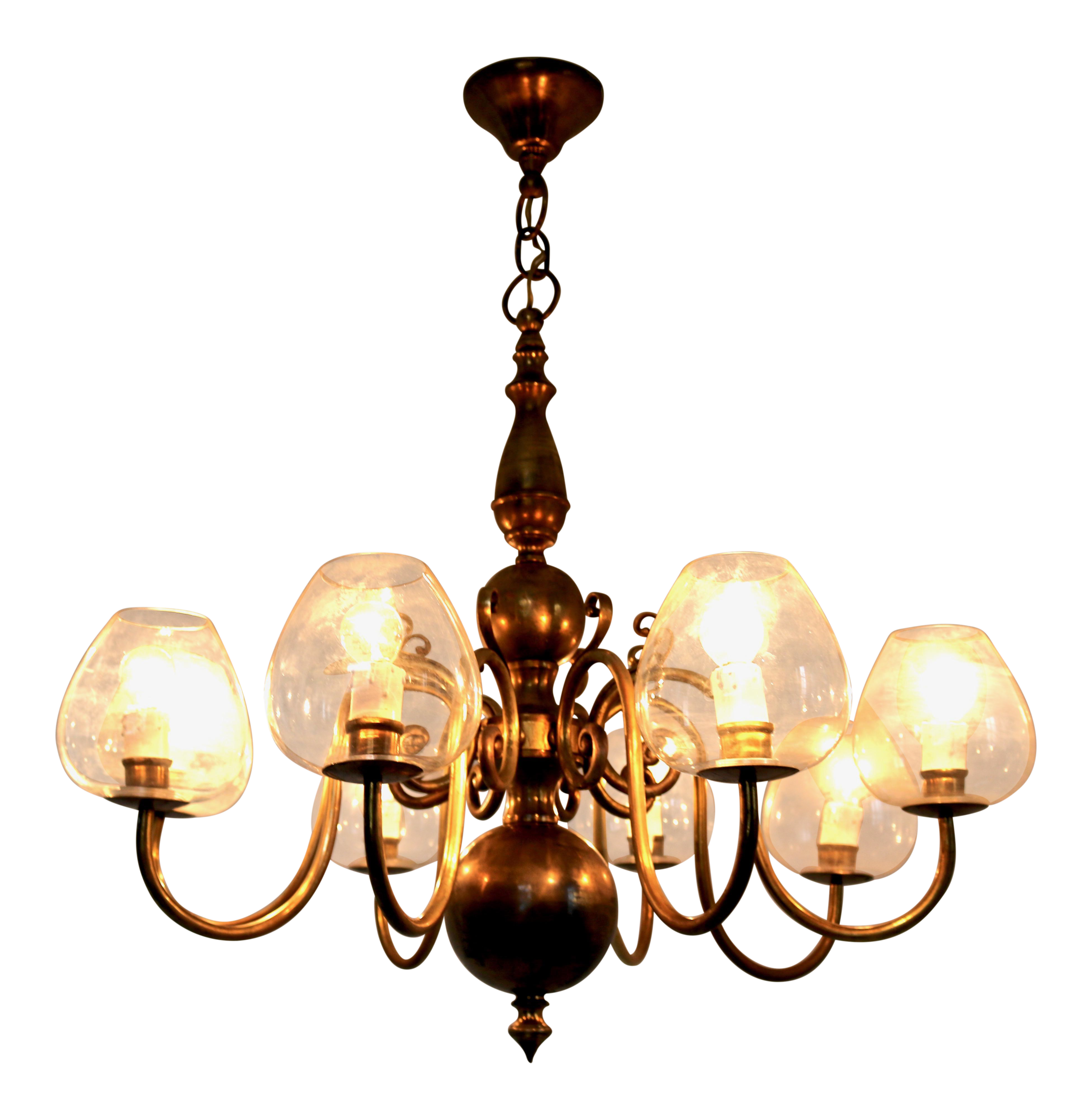 Superb Eight Armed Brass Chandelier With Blown Glass Lampshades, Italy, 1960S