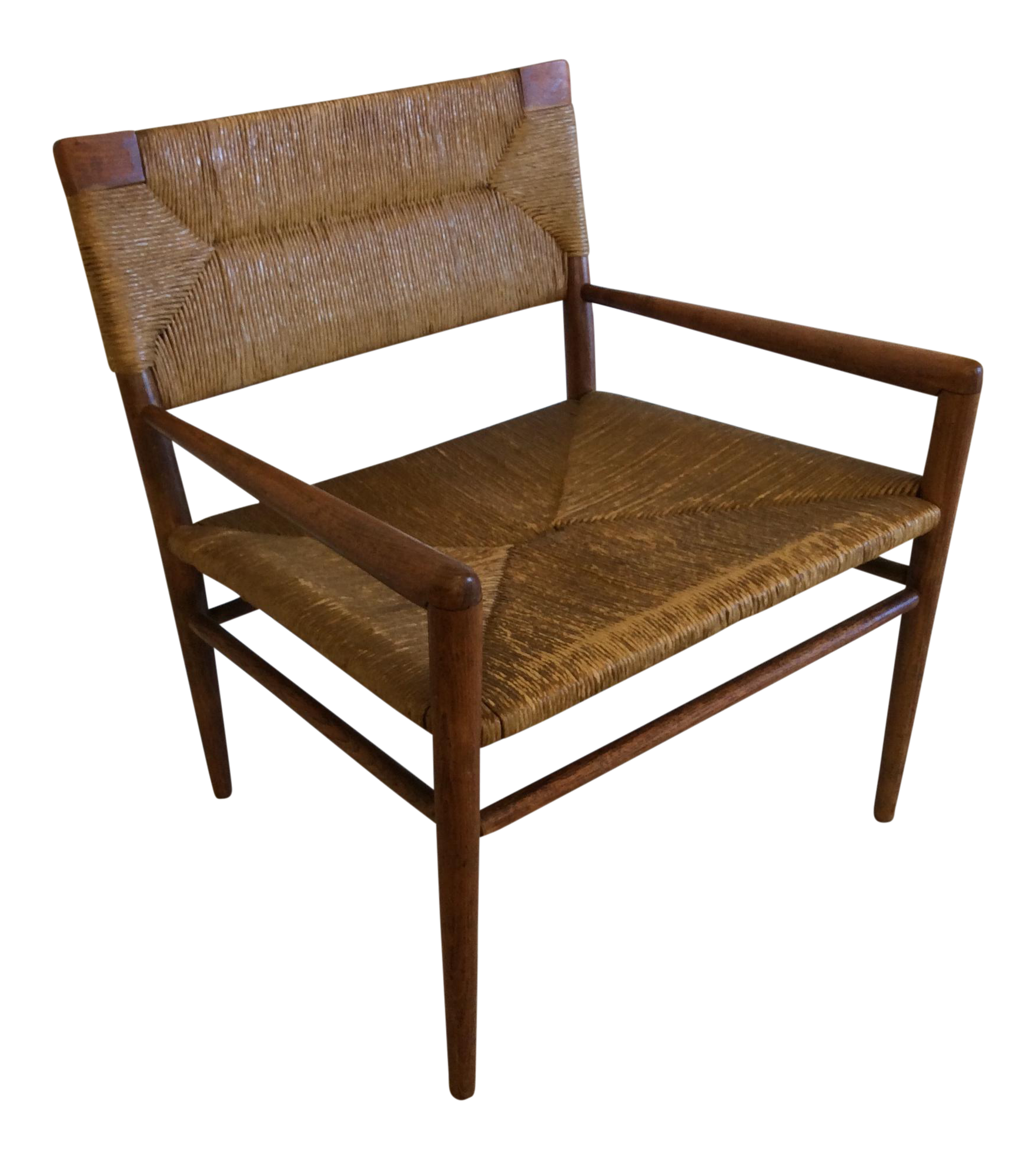Mel smilow walnut woven rush chair chairish