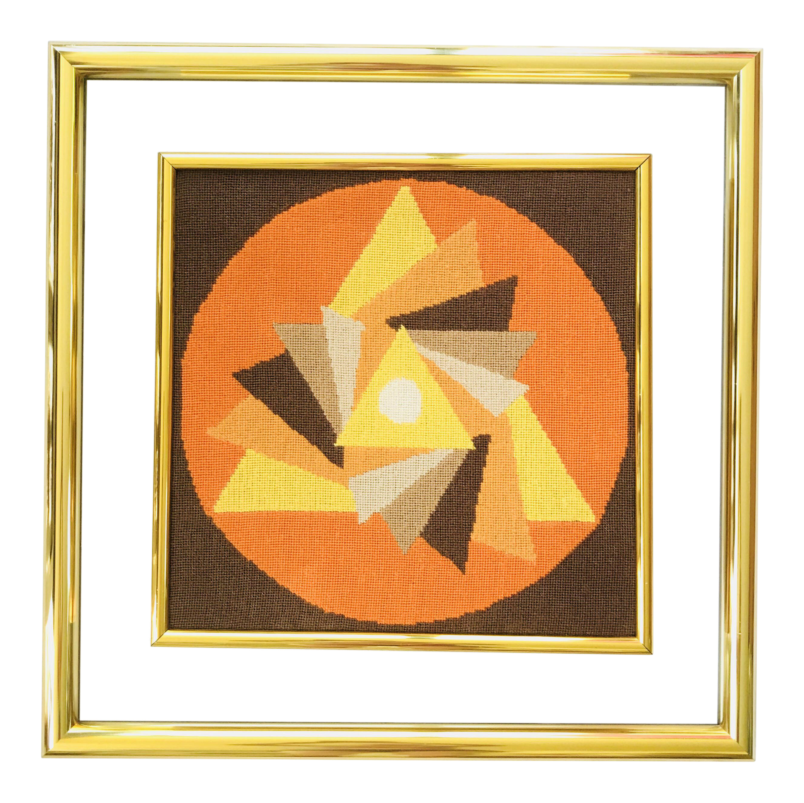 Mid Century Modern Framed Needlepoint Abstract Triangles Brass Glass